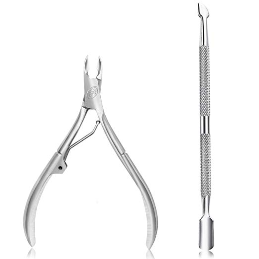 Cuticle Clippers: Cuticle Nipper with Cuticle Pusher-Professional Grade Stainless Steel Cuticle Remover & Cutter-Durable Manicure and Pedicure Tool-Beauty Tool Perfect for Fingernails and Toenails