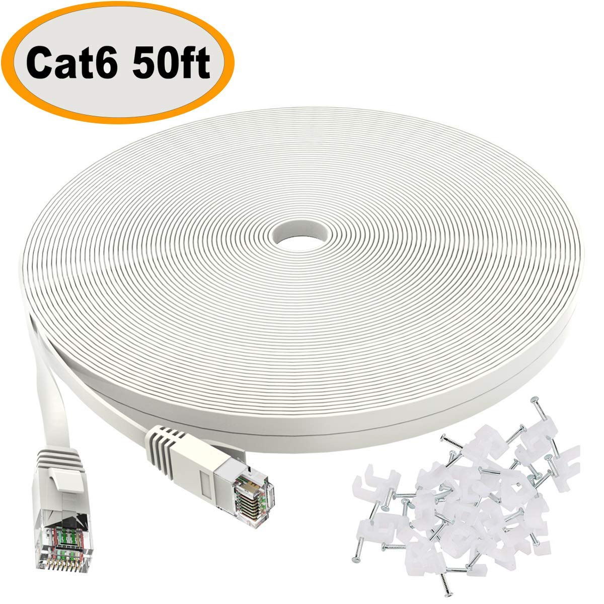 LAN Cable 50 ft: Cat 6 Ethernet Cable 50 ft White