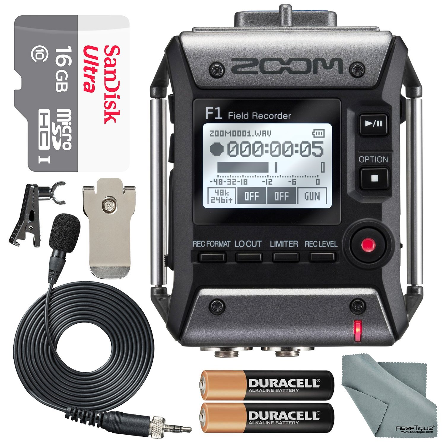 Audio Mics: Zoom: F1-LP: Zoom F1 Field Recorder with Lavalier Microphone F1LP Package with 16GB MicroSD Card and Photo Savings Basic Bundle
