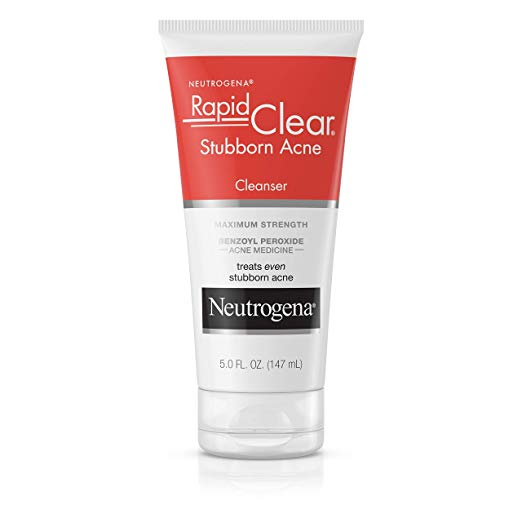 Acne Face Wash: Acne Facial Cleanser Neutrogena Rapid Clear Stubborn. With Benzoyl Peroxide Acne Medicine, 5 fl. Oz