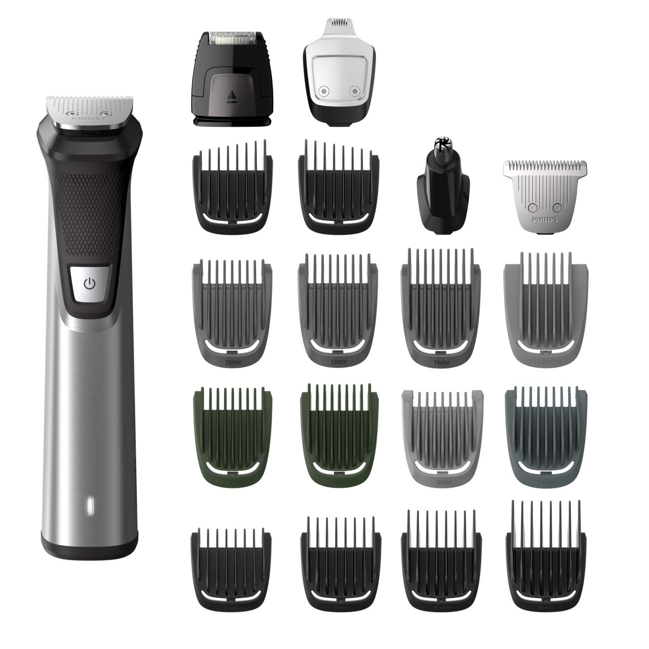 Shaver for hair cuts: Philips Norelco Multi Groomer MG7750/49-23 piece, beard, body, face, nose, and ear hair trimmer, shaver, and clipper