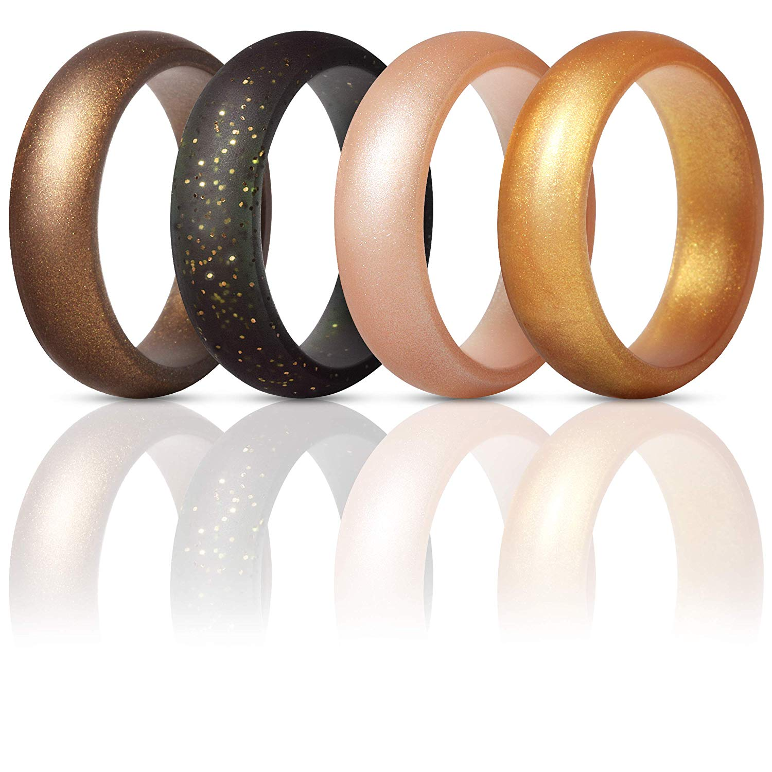 Silicone Rings: ThunderFit Silicone Rings Wedding Bands for Women 4 Pack