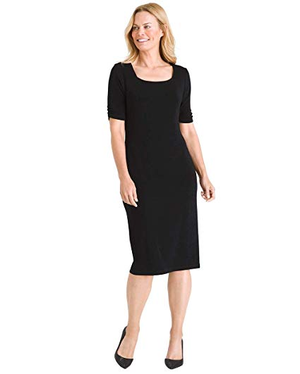 Leslie Travel Dress: Chico's Women's Travelers Classic Square-Neck Dress Black