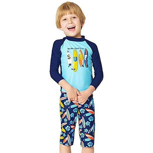 The Boys Swimsuits: EZIX Boys' Rashguard Set Two Pieces Swimsuit UV Sun Protection Suit Swimwear