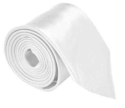White Tie: Neckties For Men 3.5 Microfiber Woven Satin Neck Ties For Men Solid Color
