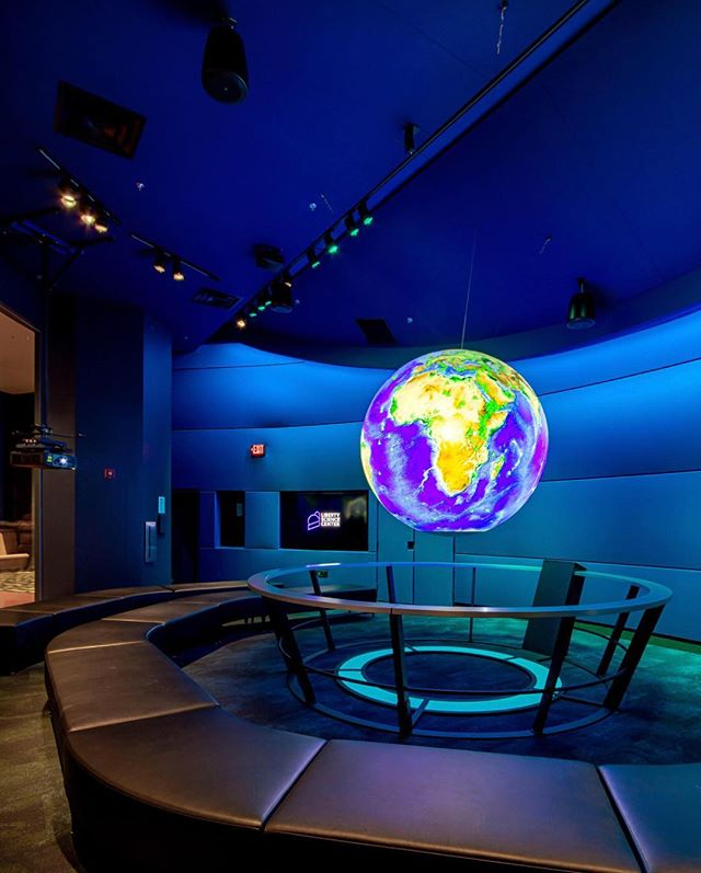 Happy Earth Day! 🌎 • @scienceonasphere at the @libertysciencecenter is an educational tool used to help illustrate Earth System science to people of all ages. Our lighting design provides a series of five lighting scenes to serve as the Sphere's backdrop, offering visitors a completely immersive, one of a kind experience. 📸: @fischerlighting