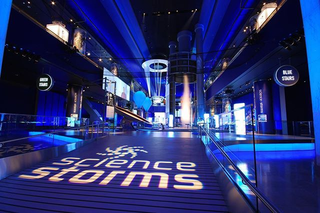 #TBT For the Science Storms exhibit at the Museum of Science and Industry in Chicago, the Focus team designed an enveloping wall of blue light that unifies  the venue's various exhibits.