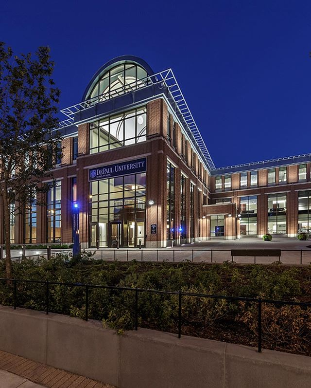 At the Holtschneider Performance Center, the home of DePaul University's School of Music, the Focus team used two layers of linear LEDs to graze up the building's warm brick exterior. Arm-mounted fixtures at the second level were aimed to provide just enough spill light to illuminate the brise soleil above. ✨