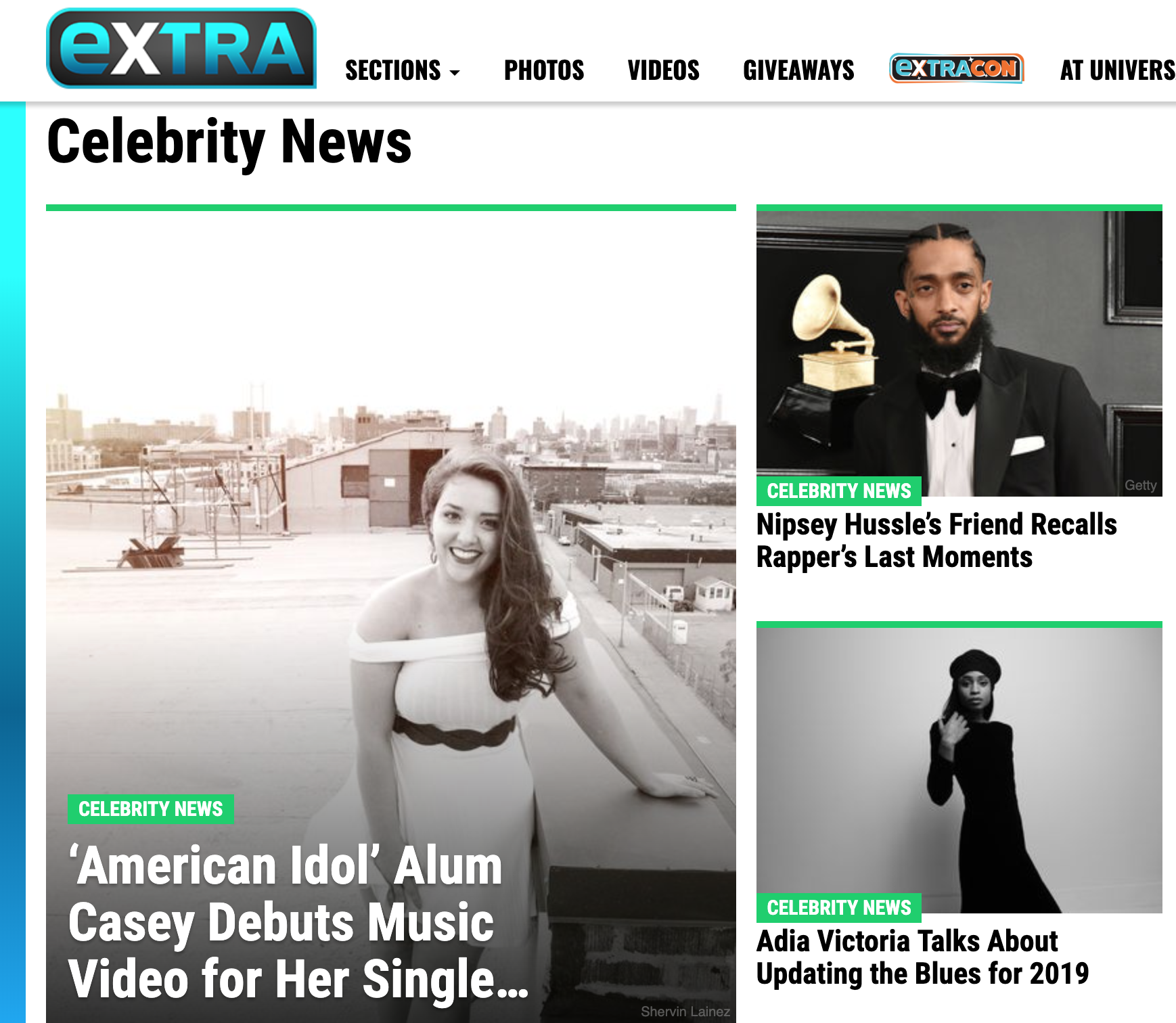 "Thank you Extra TV! - AHHHHHHHHHHHHHHHHHH! My ""Beautiful"" Music Video just premiered as the top Celebrity News article on Extra TV!"