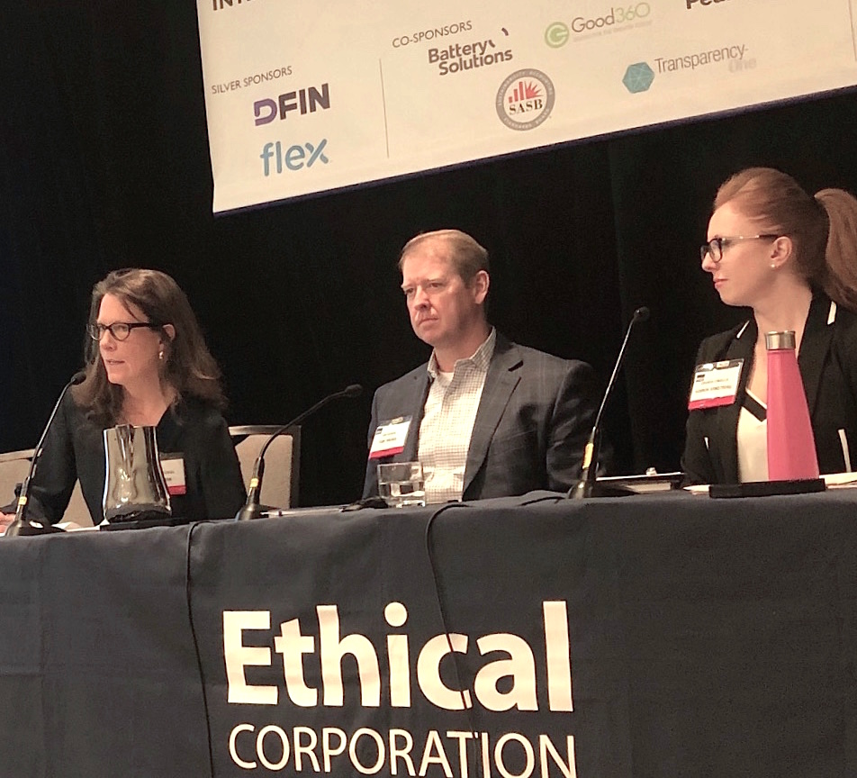 ISSP-NYC Founding Co-Chair Trisha Bauman, Yum! Brands VP for Global Government Affairs & Sustainability Jon Hixson, and Hannon Armstrong Asst. VP of Investor Relations & ESG Reporting Amanda Cimaglia