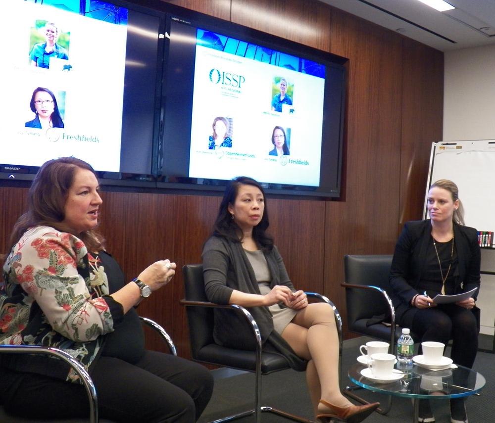 Oppenheimer Public Affairs Head Kim Weinrick, Freshfields CSR Lead Joy Tumang, Wild Tomorrow Fund COO Wendy Hapgood