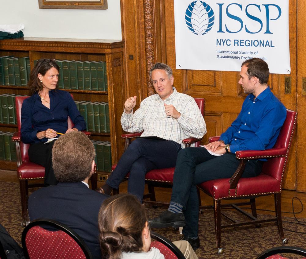 ISSP-NYC Founding Co-Chair Trisha Bauman, Le Pain Quotidien CEO Doug Satzman, and CO2logic US CEO Arnaud Brohé