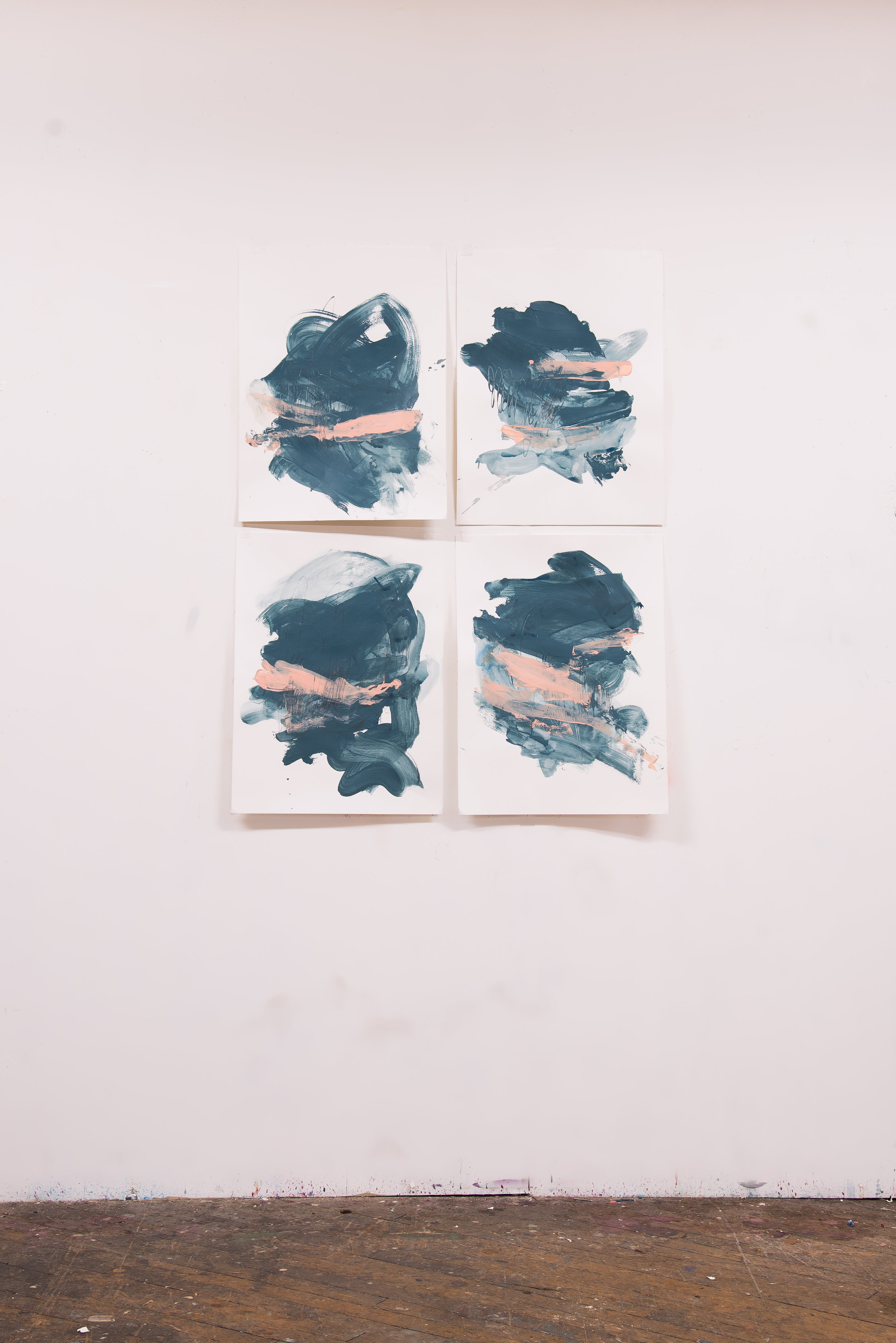 """Equator #1-4 , 18""""x24"""" each, acrylic + graphite on paper, 2018, available"""