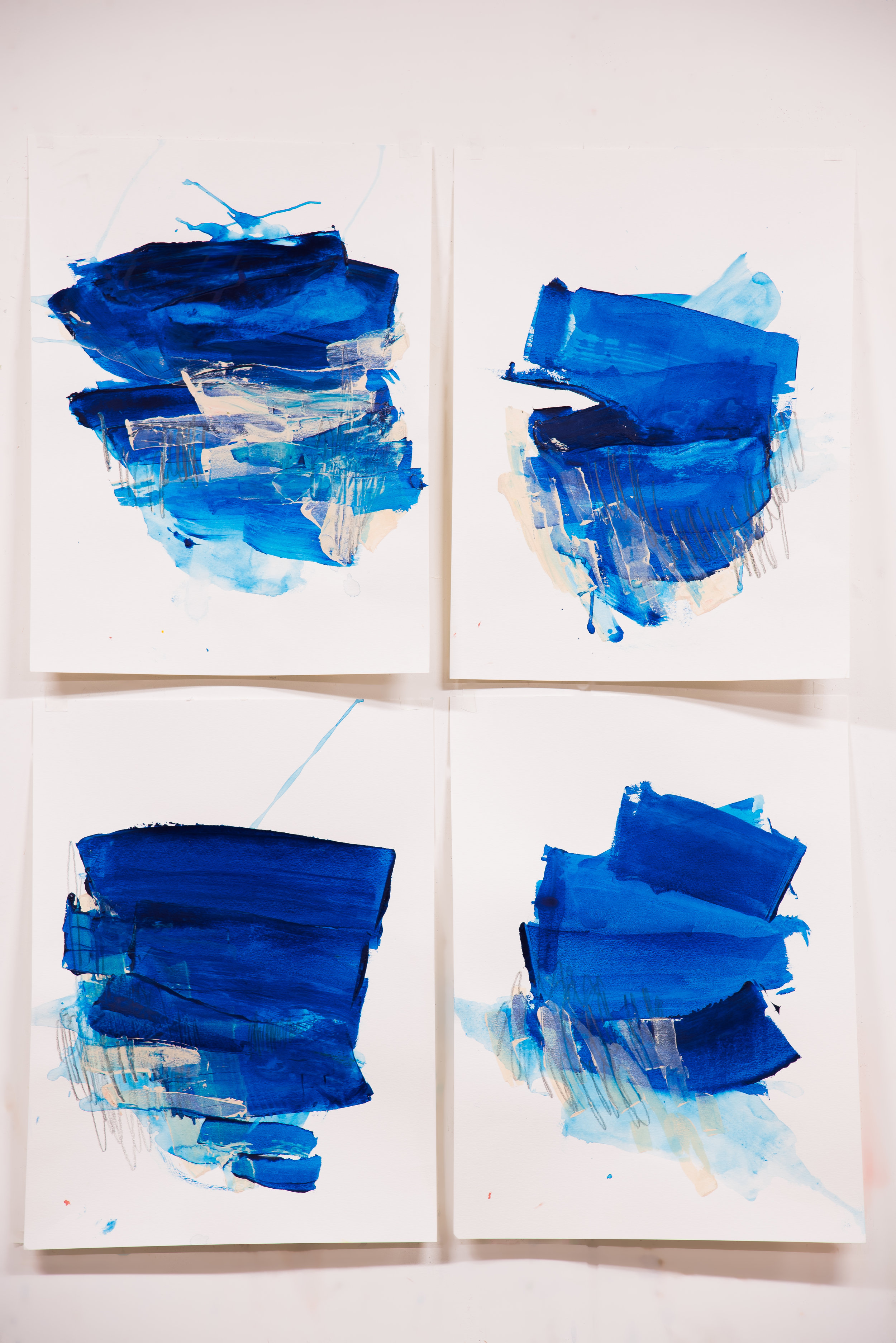 """Buoyant #1-4 , 18""""x24"""" each, acrylic + graphite on paper, 2018, #4 SOLD, #1-3 available"""