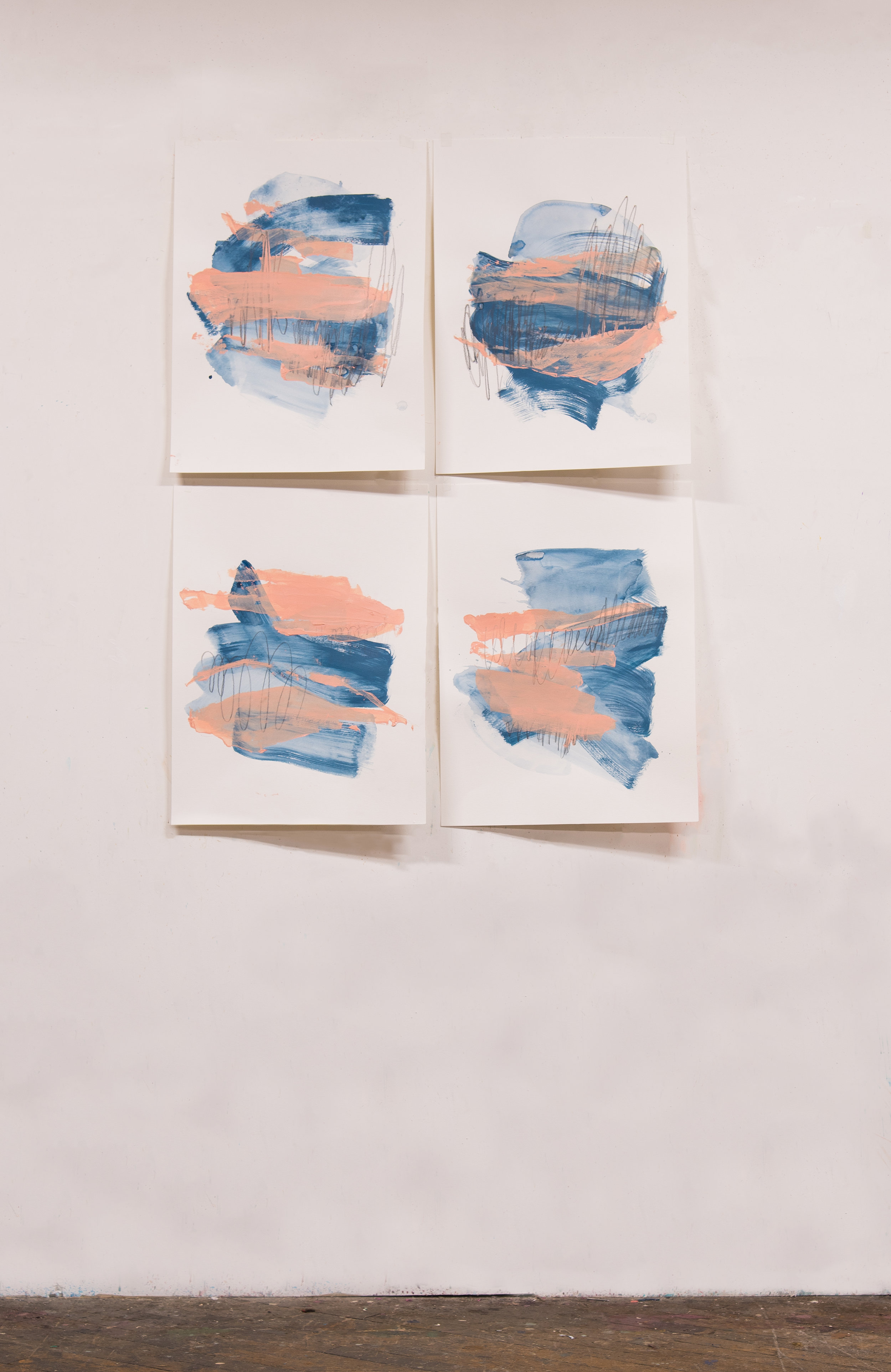 """Sweet Like Saltwater #1-4 , 18""""x24"""" each, acrylic + graphite on paper, 2018, available"""