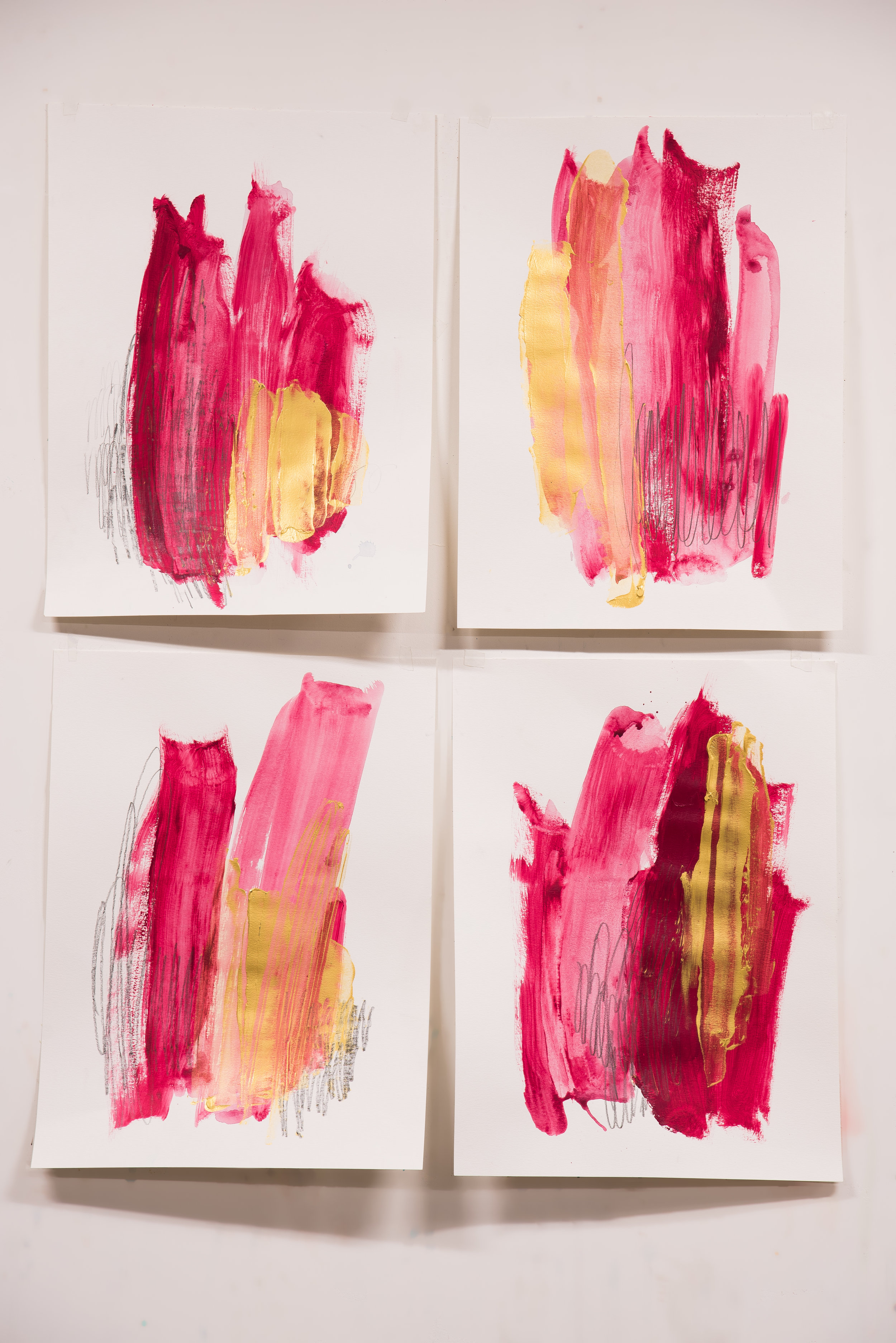 """So Fancy #1-4 , 18""""x24"""" each, acrylic + graphite on paper, 2018, #2-4 SOLD, #1 available"""