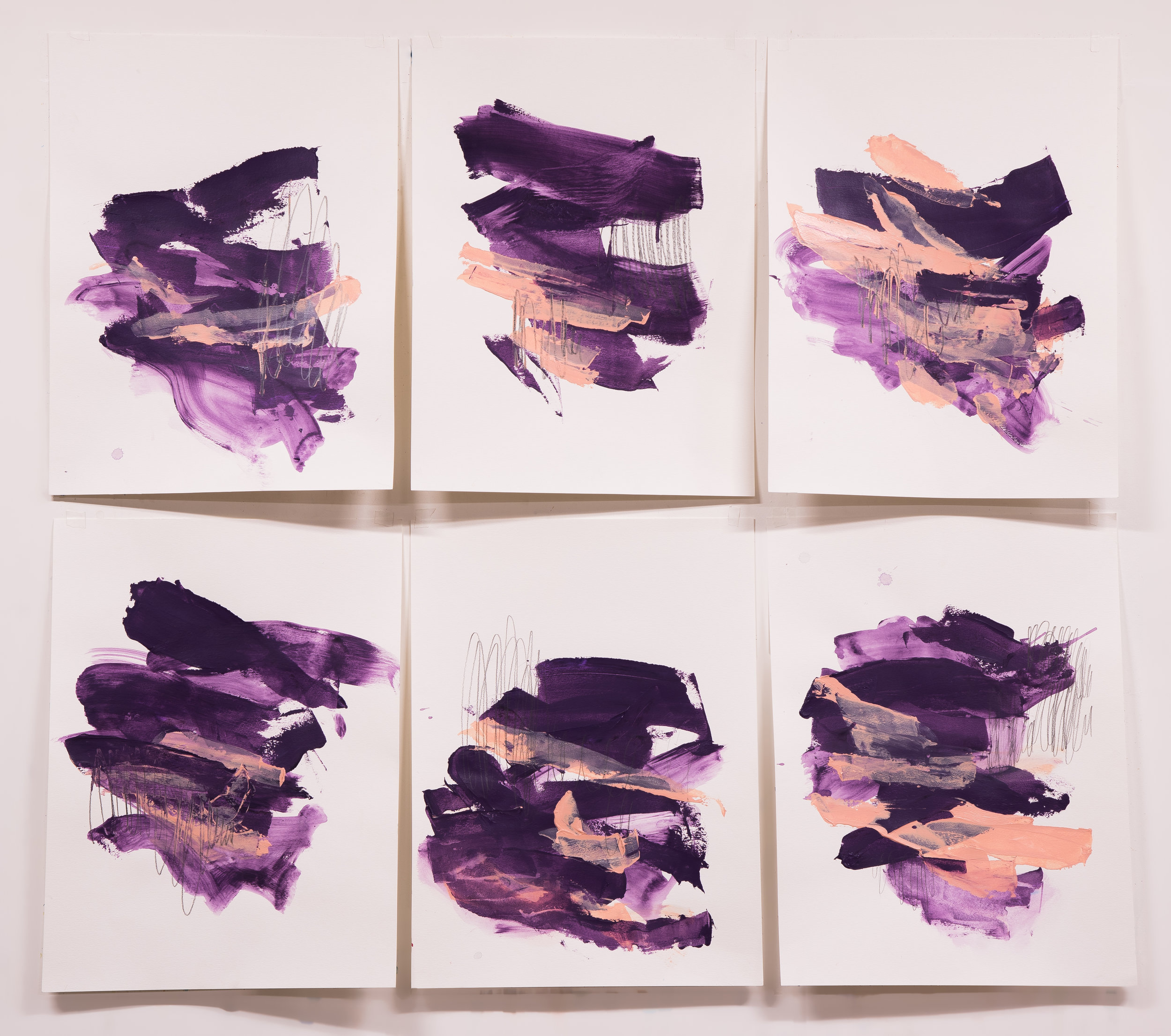 """Tongue Twister #1-6 , 18""""x24"""" each, acrylic + graphite on paper, 2018, available"""