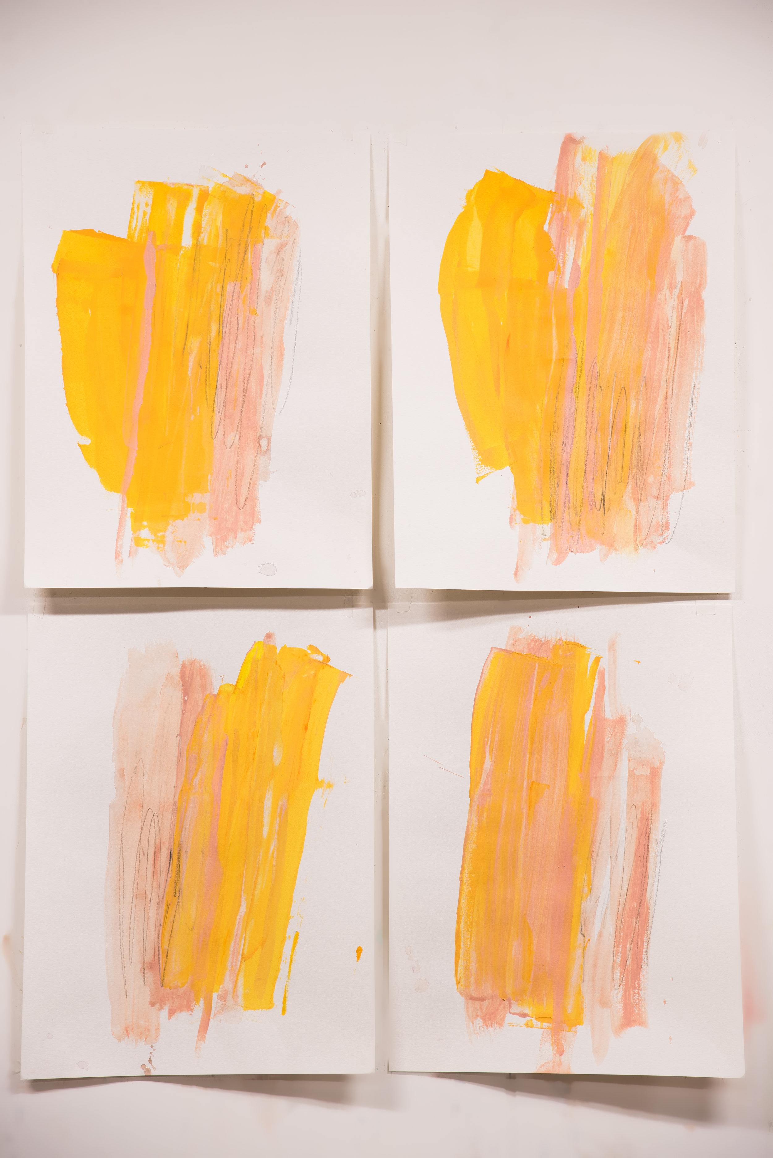 """Warm Like Buttercups #1-4 , 18""""x24"""" each, acrylic + graphite on paper, 2018, available"""