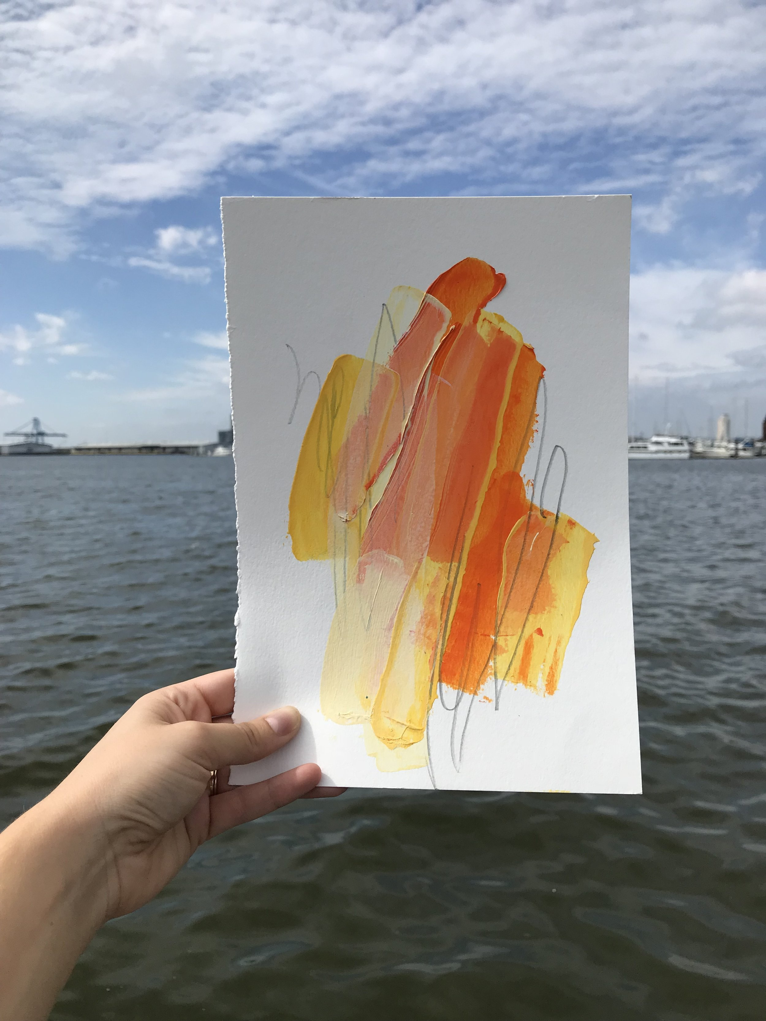 """Beacon #2,  7.5""""x11"""", acrylic + graphite on paper, 2018, available"""