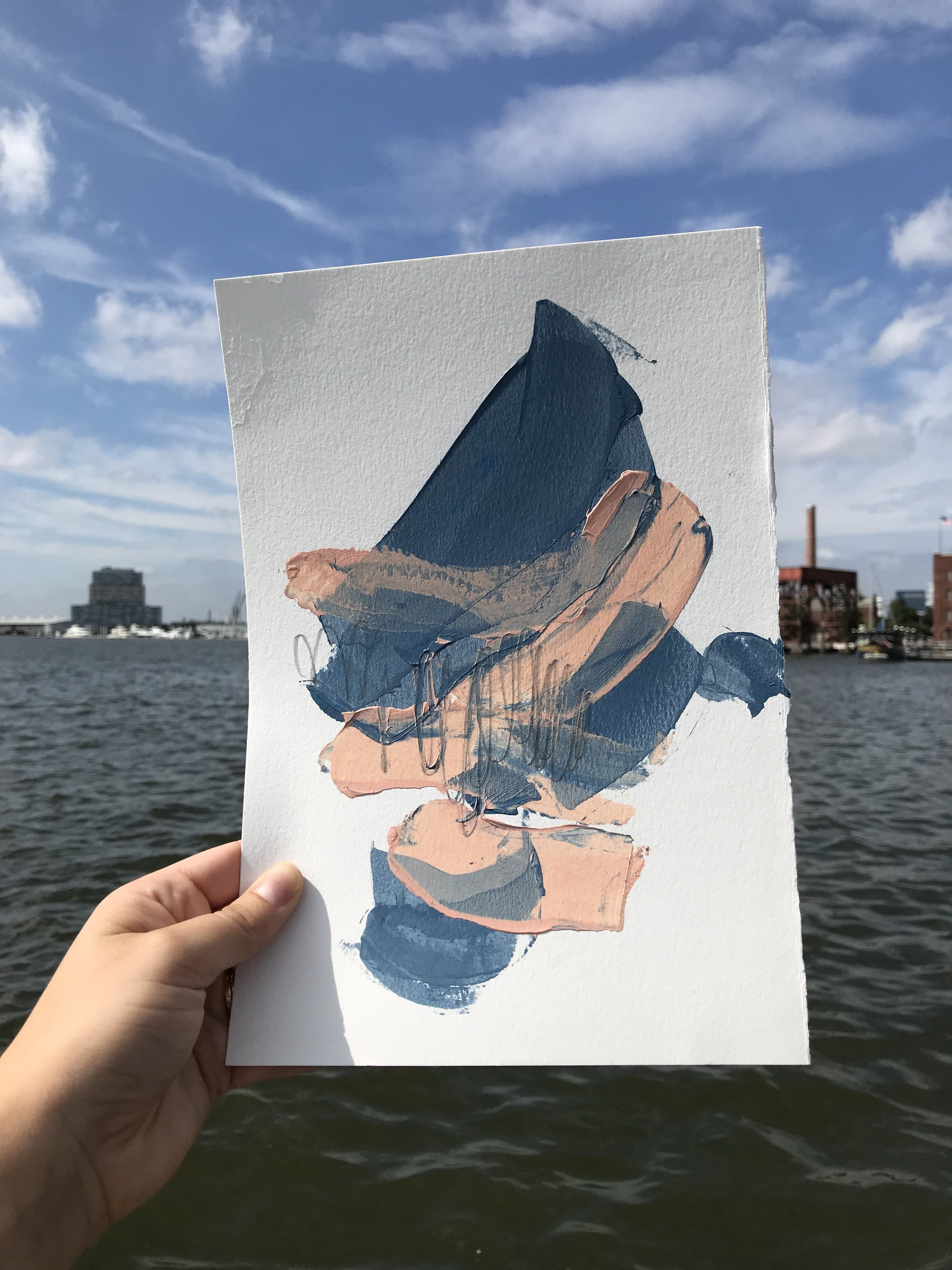 """Between Bright #1,  7.5""""x11"""", acrylic + graphite on paper, 2018, available"""