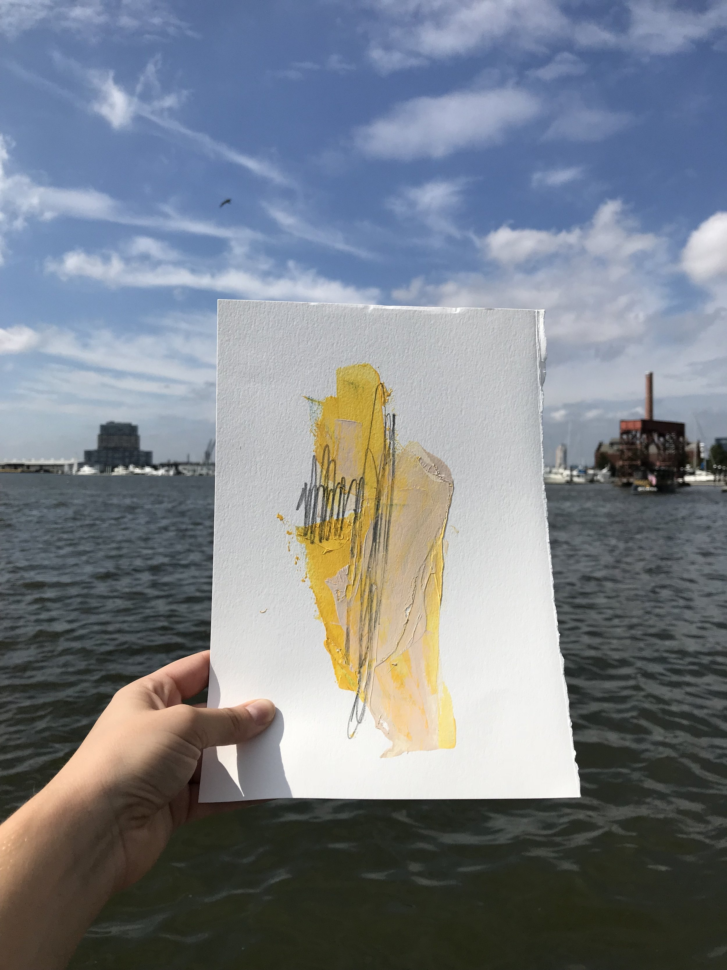 """Buoy #1,  7.5""""x11"""", acrylic + graphite on paper, 2018, available"""