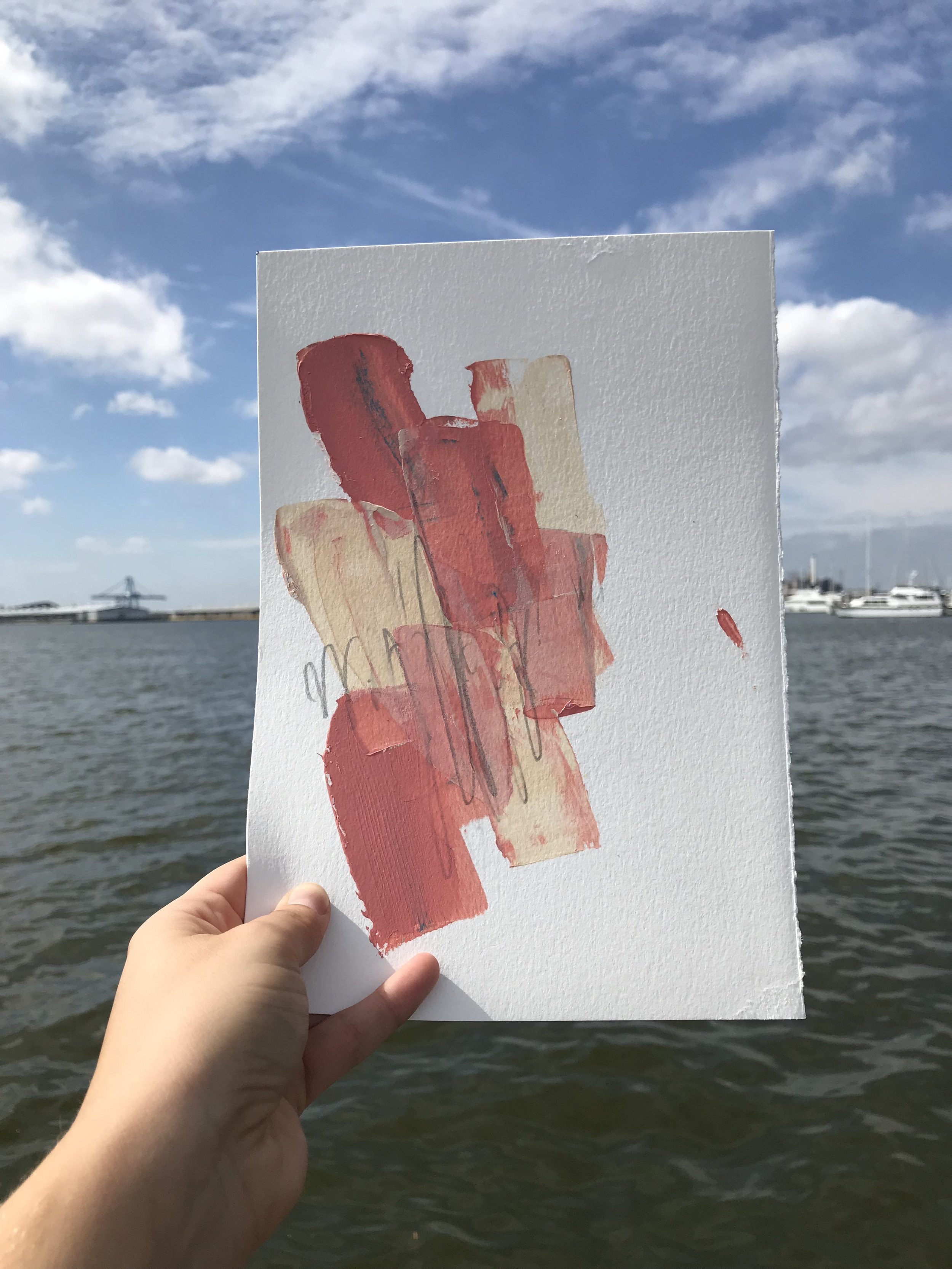 """Built #1,  7.5""""x11"""", acrylic + graphite on paper, 2018, available"""