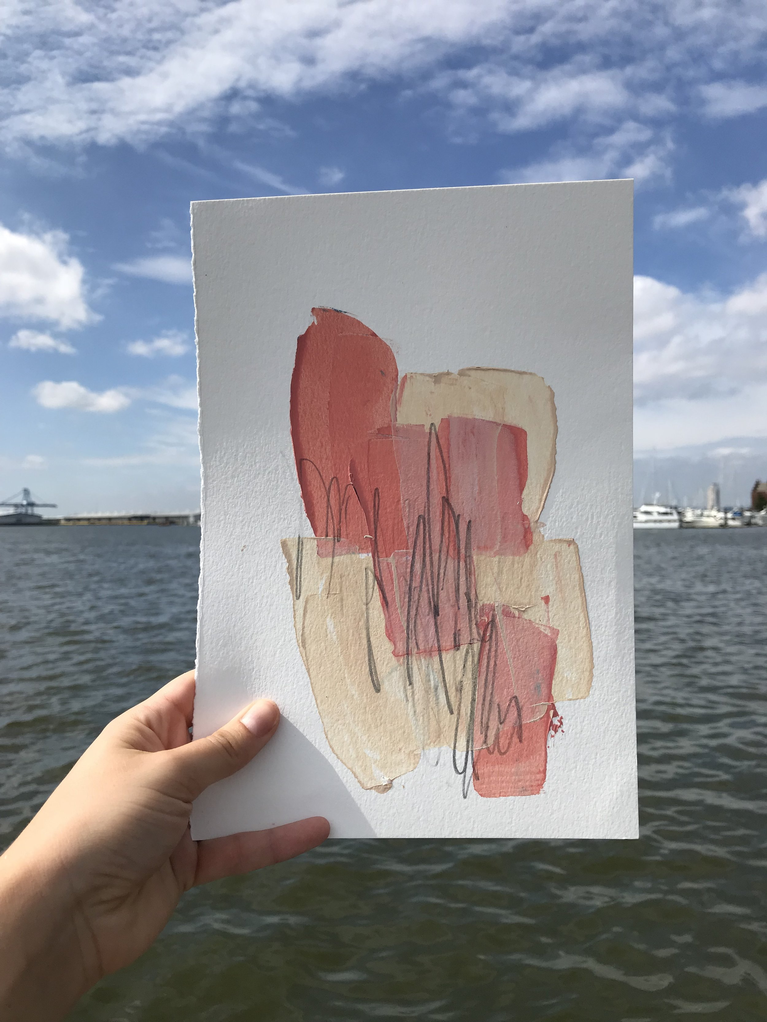 """Built #2,  7.5""""x11"""", acrylic + graphite on paper, 2018, available"""