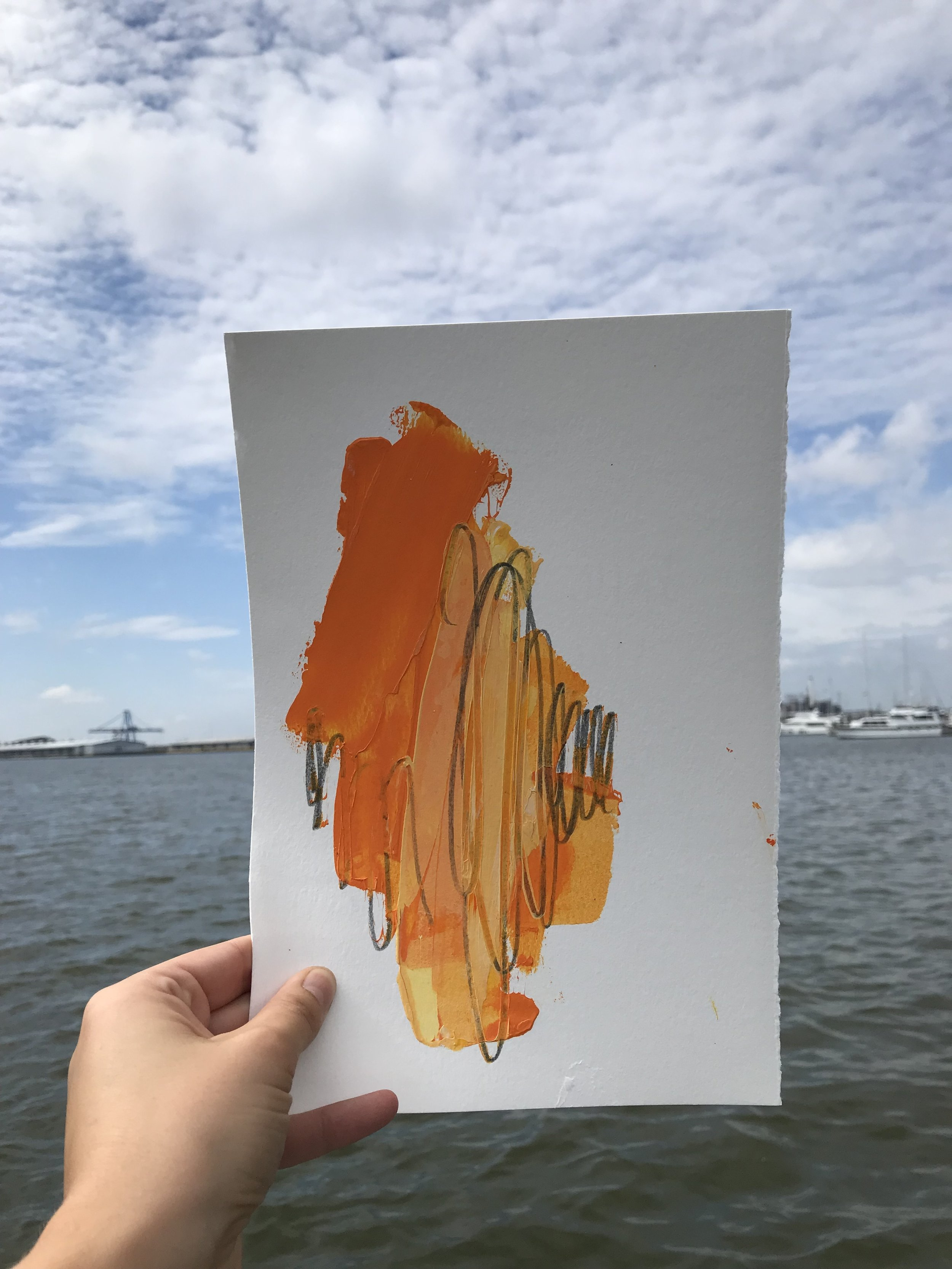 """Flare #1,  7.5""""x11"""", acrylic + graphite on paper, 2018, available"""