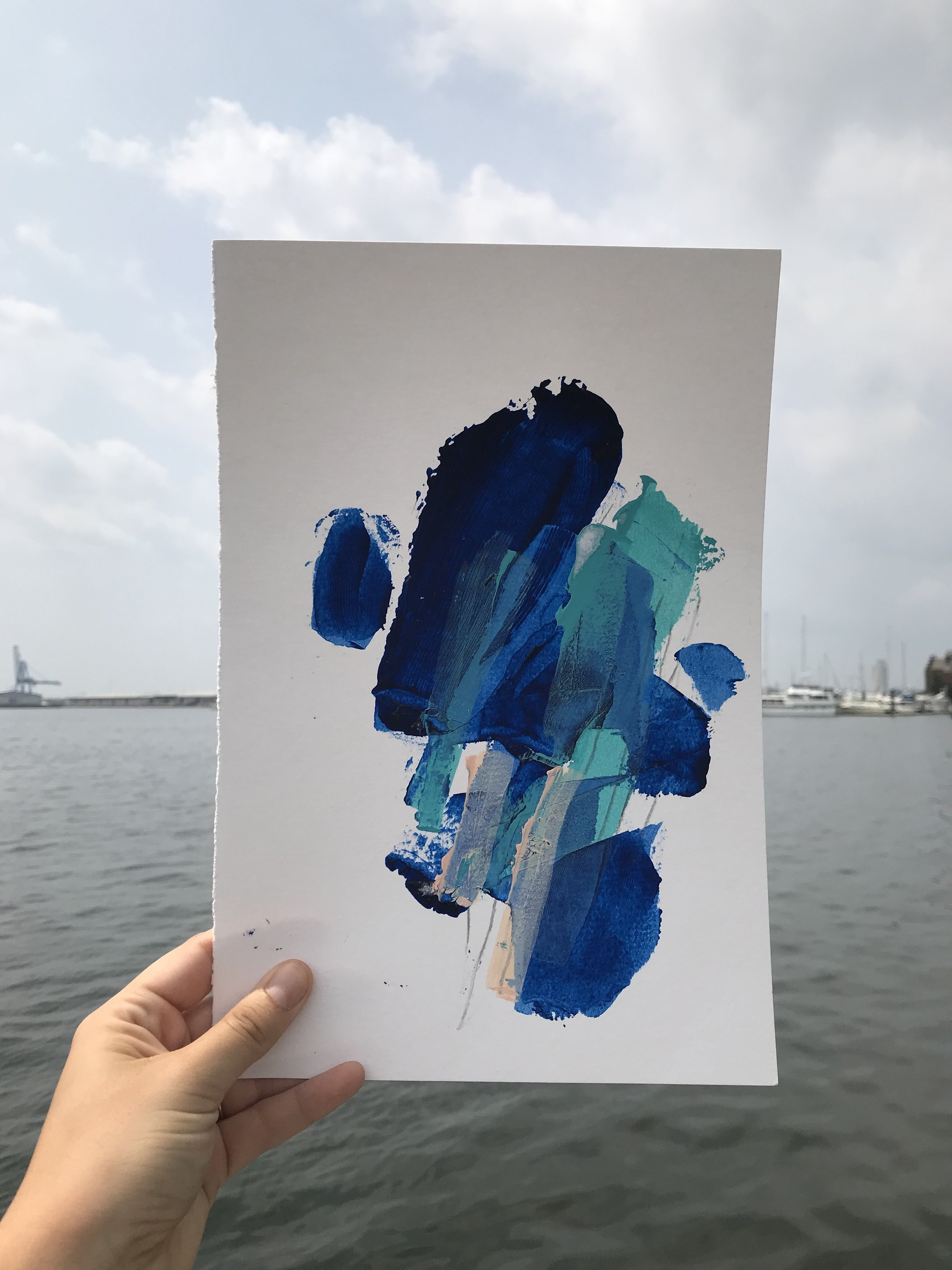"""Quick Touch #1,  8""""x12"""", acrylic + graphite on paper, 2018, SOLD"""