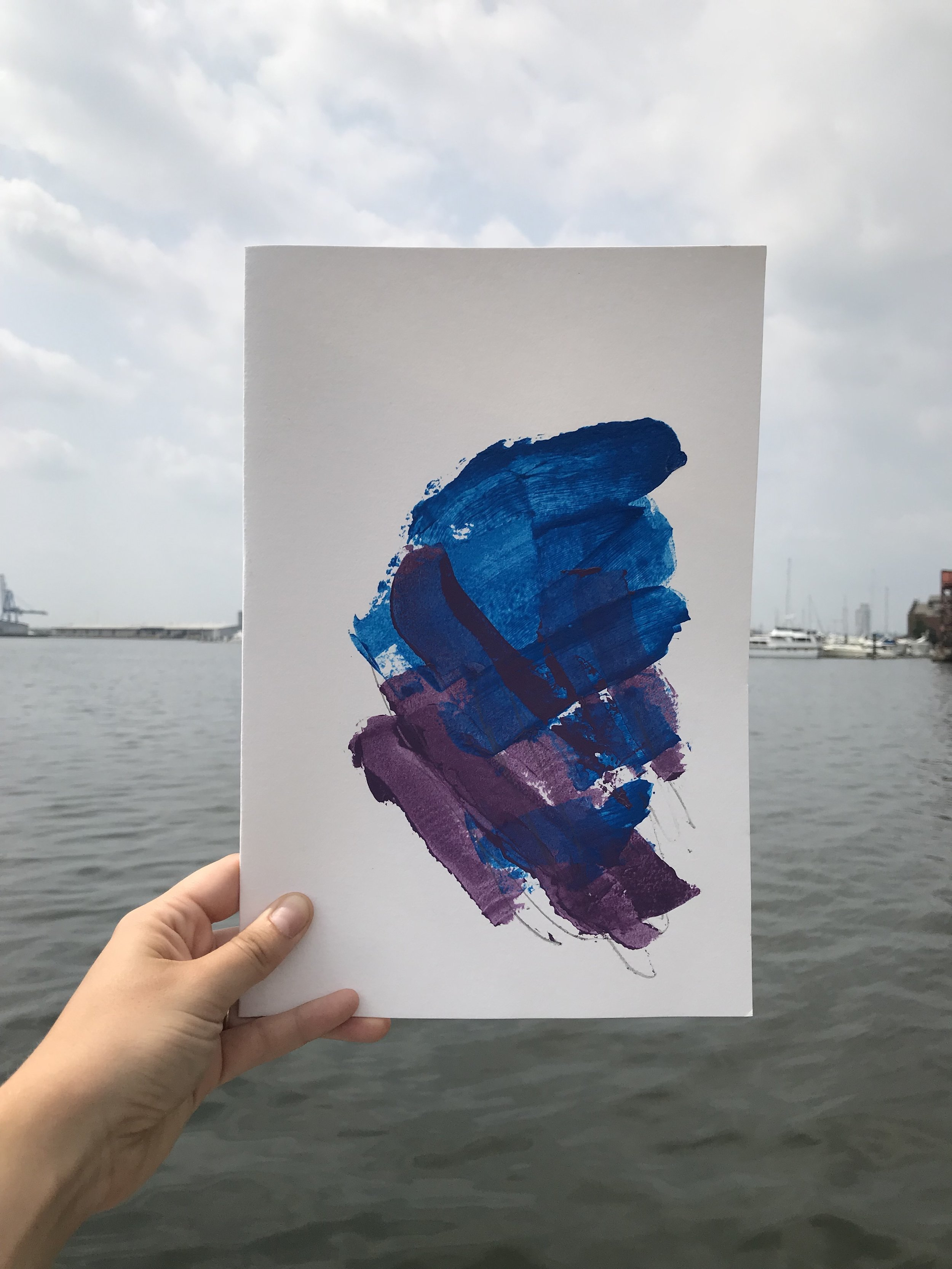 """Heavy Piece #1,  8""""x12"""", acrylic + graphite on paper, 2018, available"""