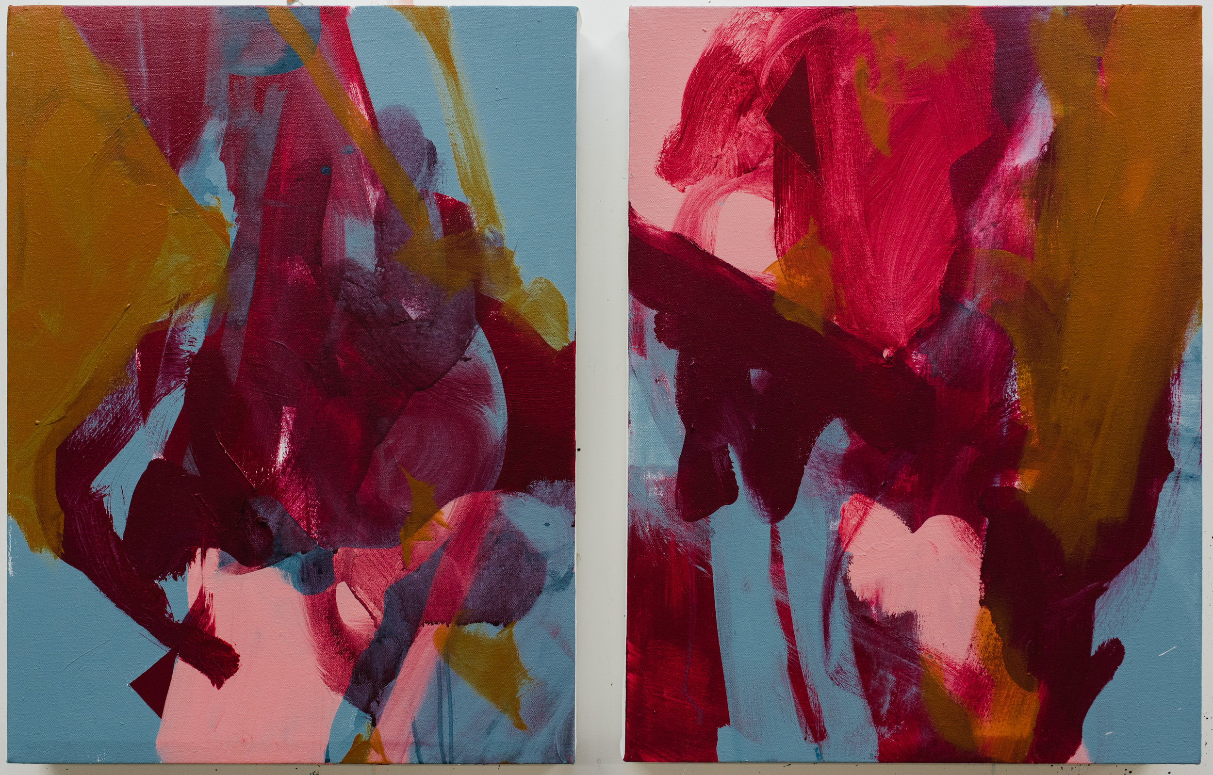 "Interlude #1-2,  18""x24"" each, acrylic on canvas, 2018 / Contact Katie for pricing"