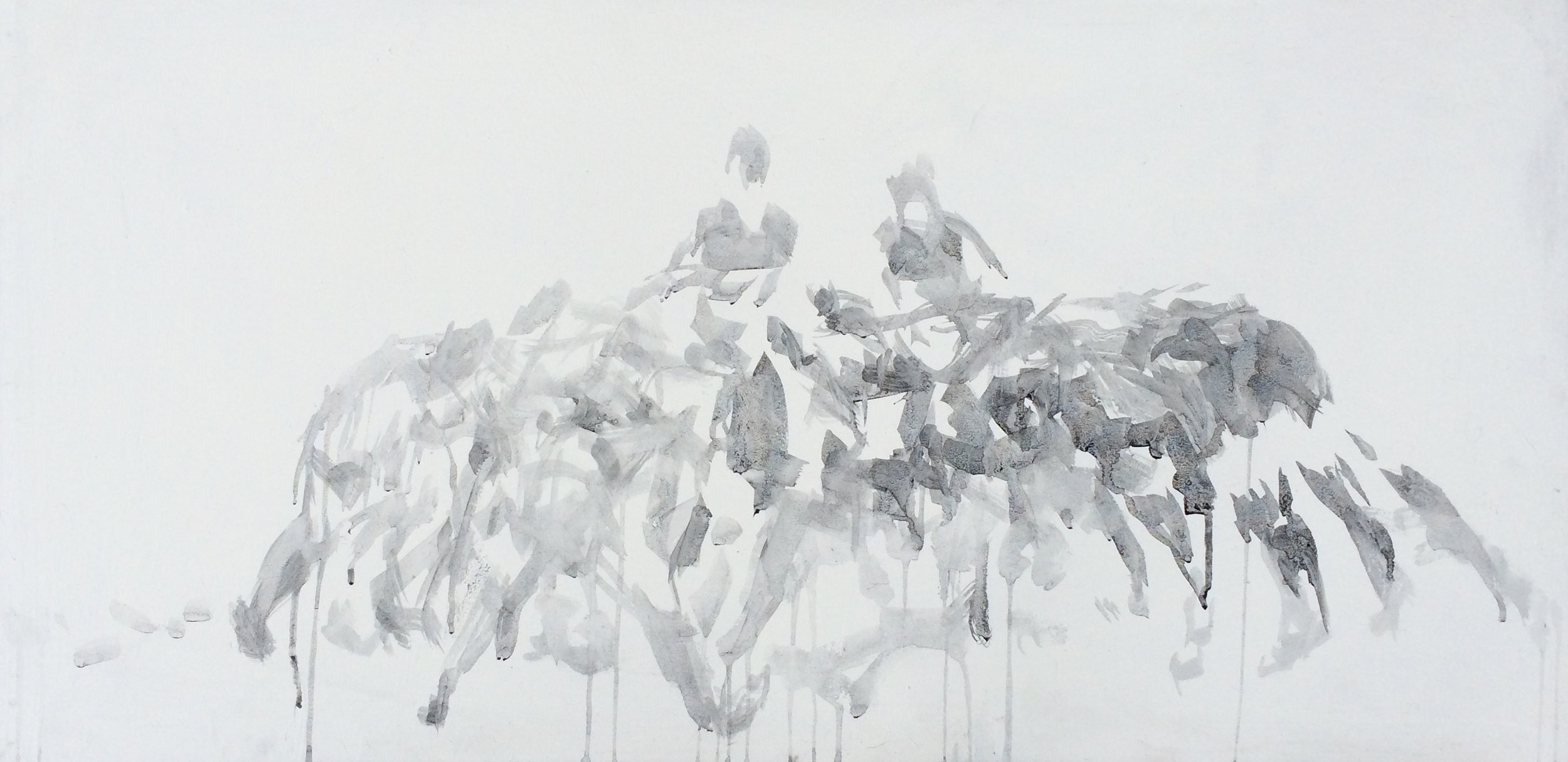 "Force,  38""x18"", charcoal on canvas, 2015 / Contact Katie for pricing"