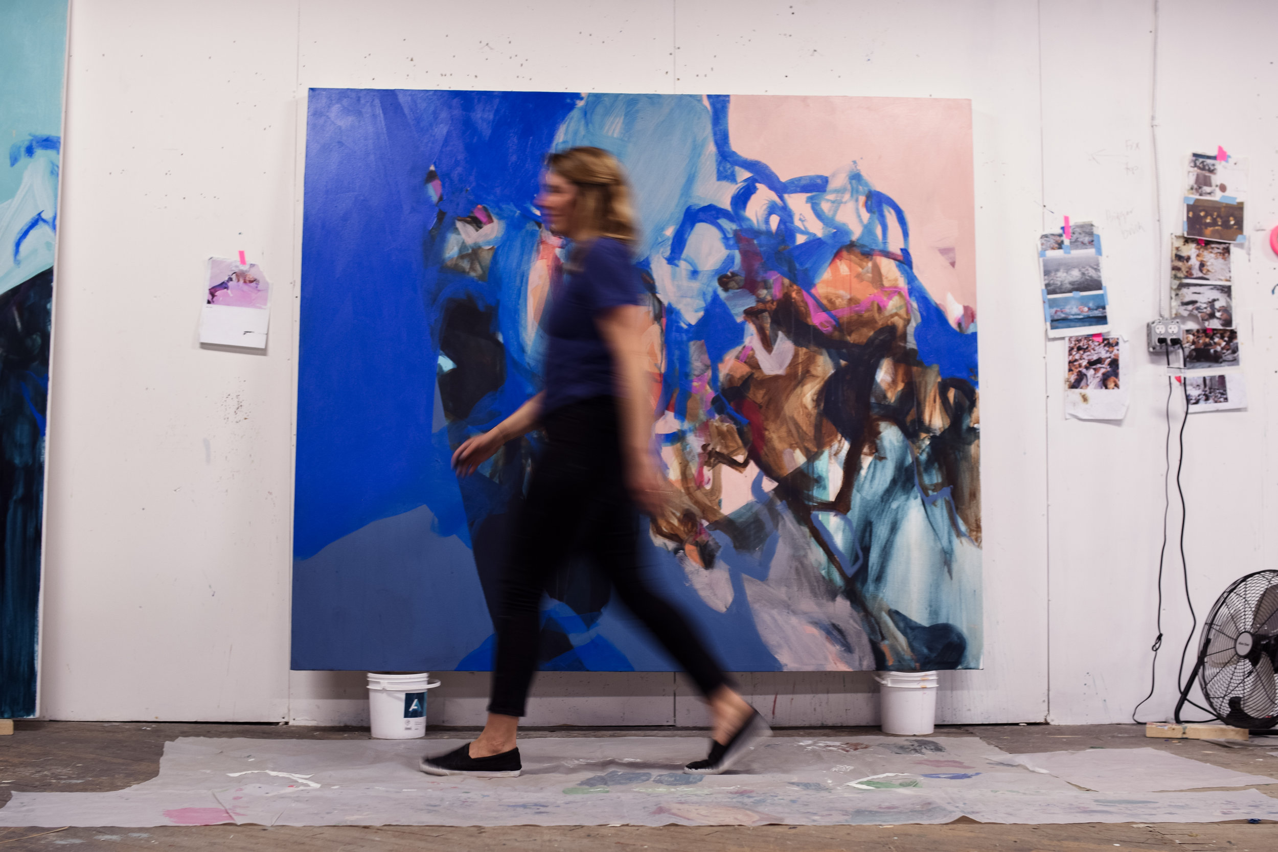 "Katie in her studio |  Hopscotch , 84""x72"", acrylic on canvas, 2018 (photo by  Maura Asteria )"