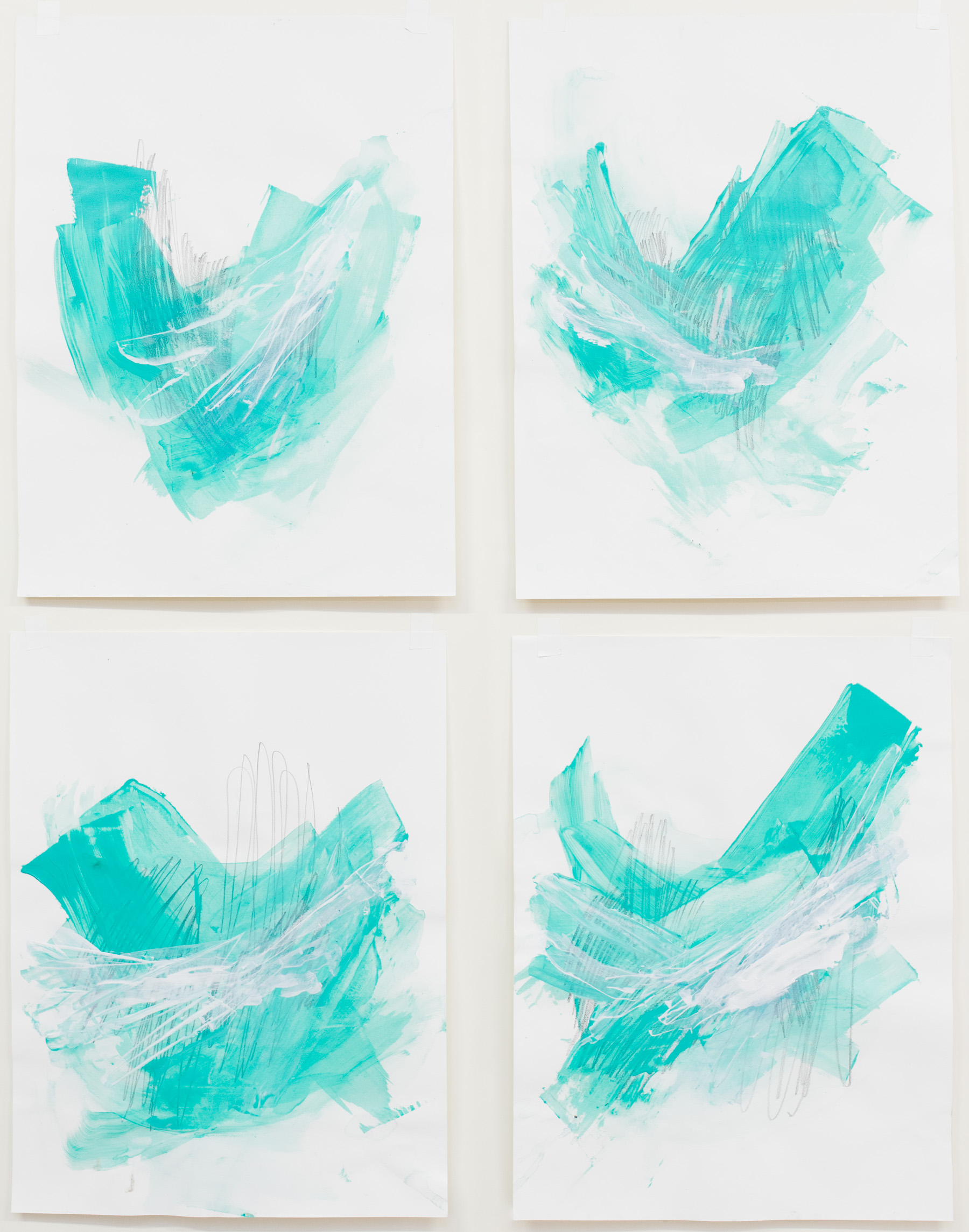 """Cold, Smoother and Sweet #1-4 , 18""""x24"""" each, acrylic on paper, 2017, available"""
