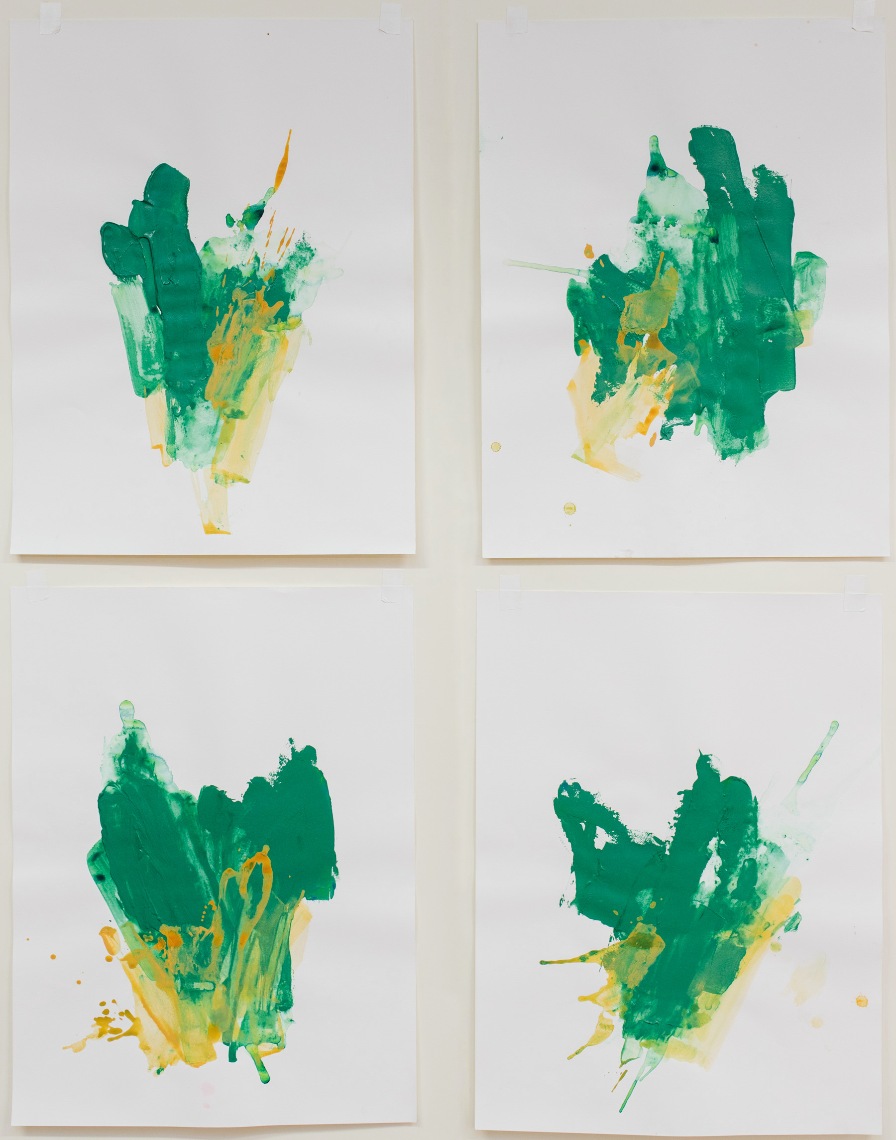 """Head Down Into It #1-4 , 18""""x24"""" each, acrylic on paper, 2017, available"""