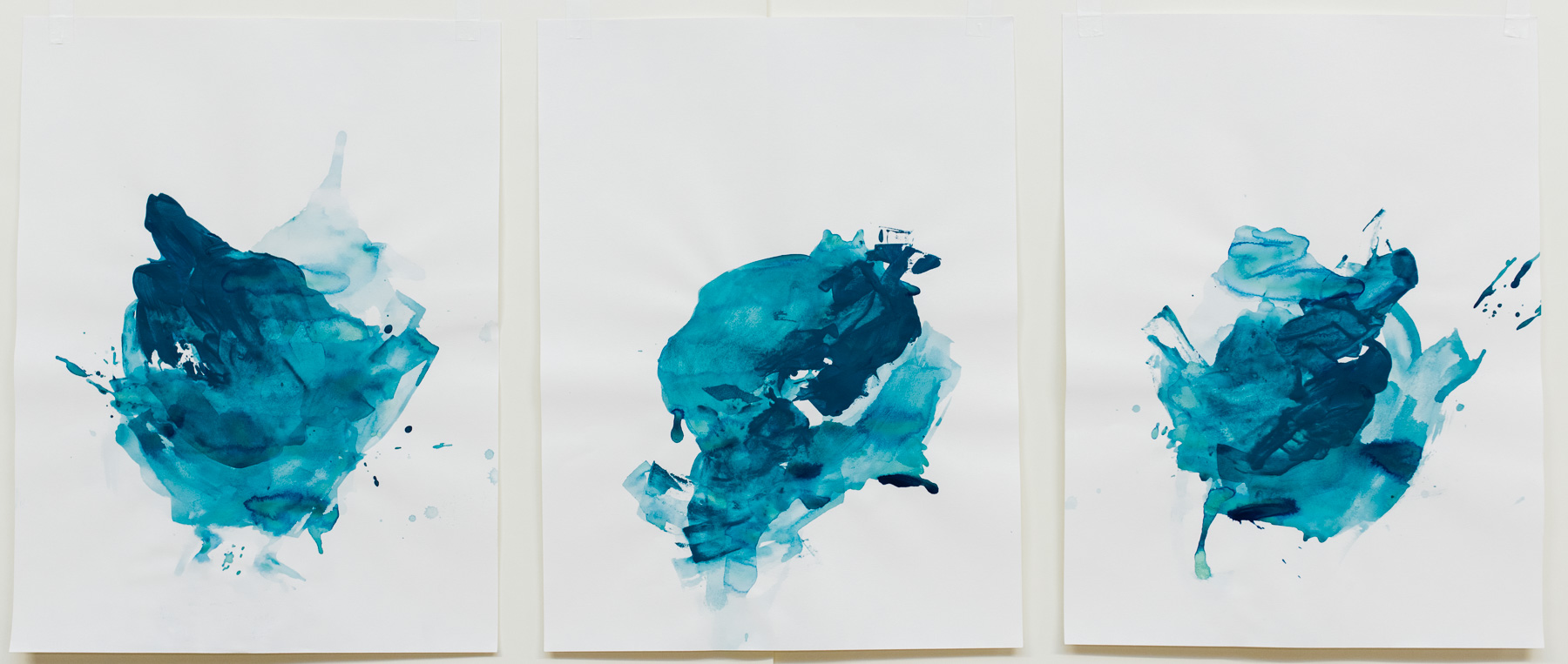 """Undertow #1-3 , 18""""x24"""" each, acrylic on paper, 2018, available"""