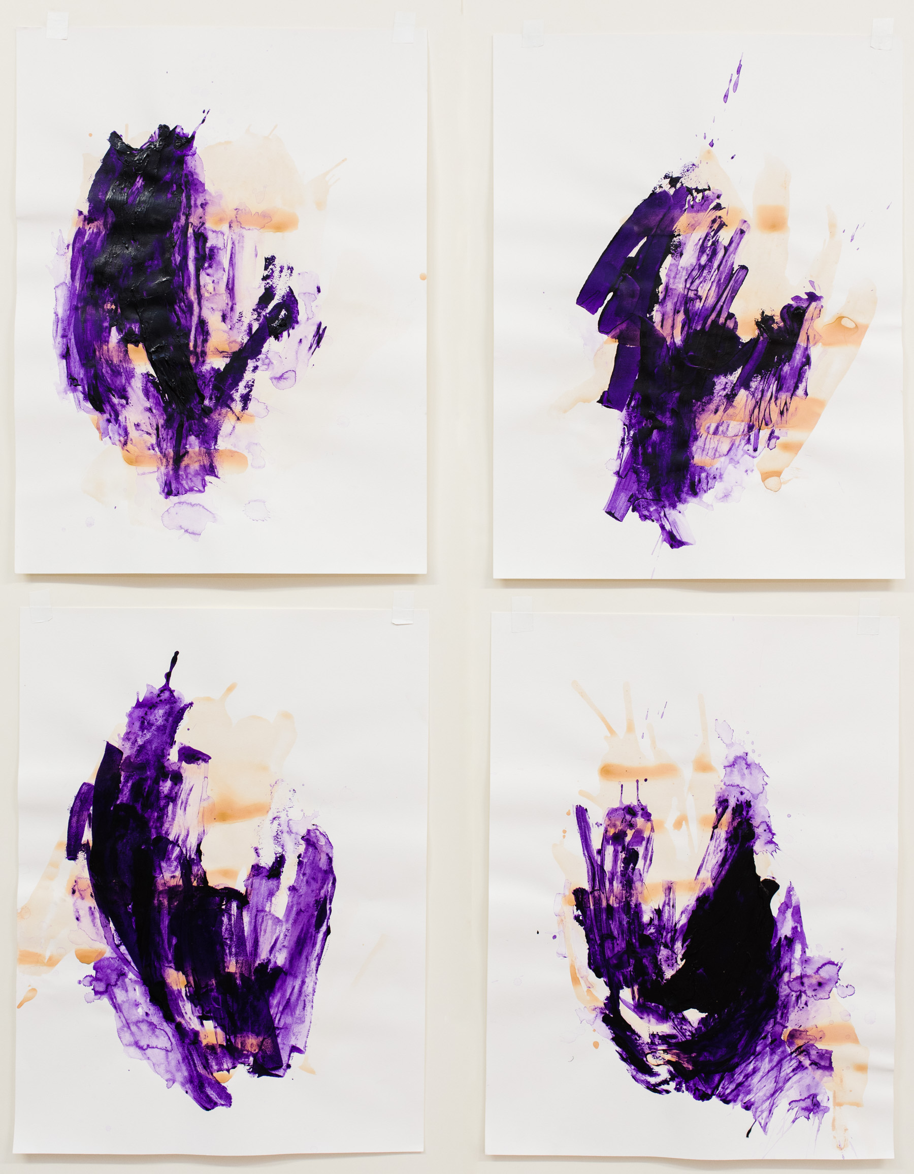 """Digging In #1-4 , 18""""x24"""" each, acrylic on paper, 2017, available"""