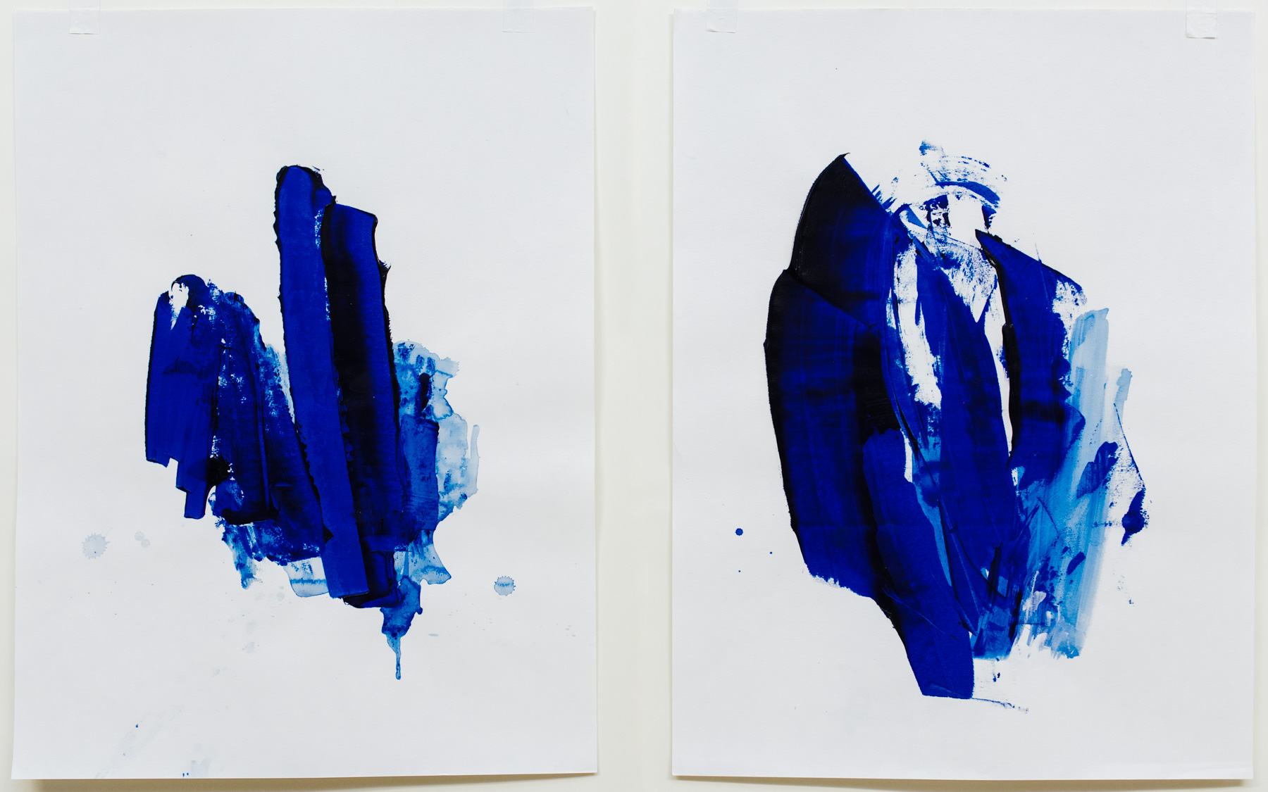 """Pushing Through #5-8 , 18""""x24"""" each, acrylic on paper, 2018, available (#5&6 not pictured)"""