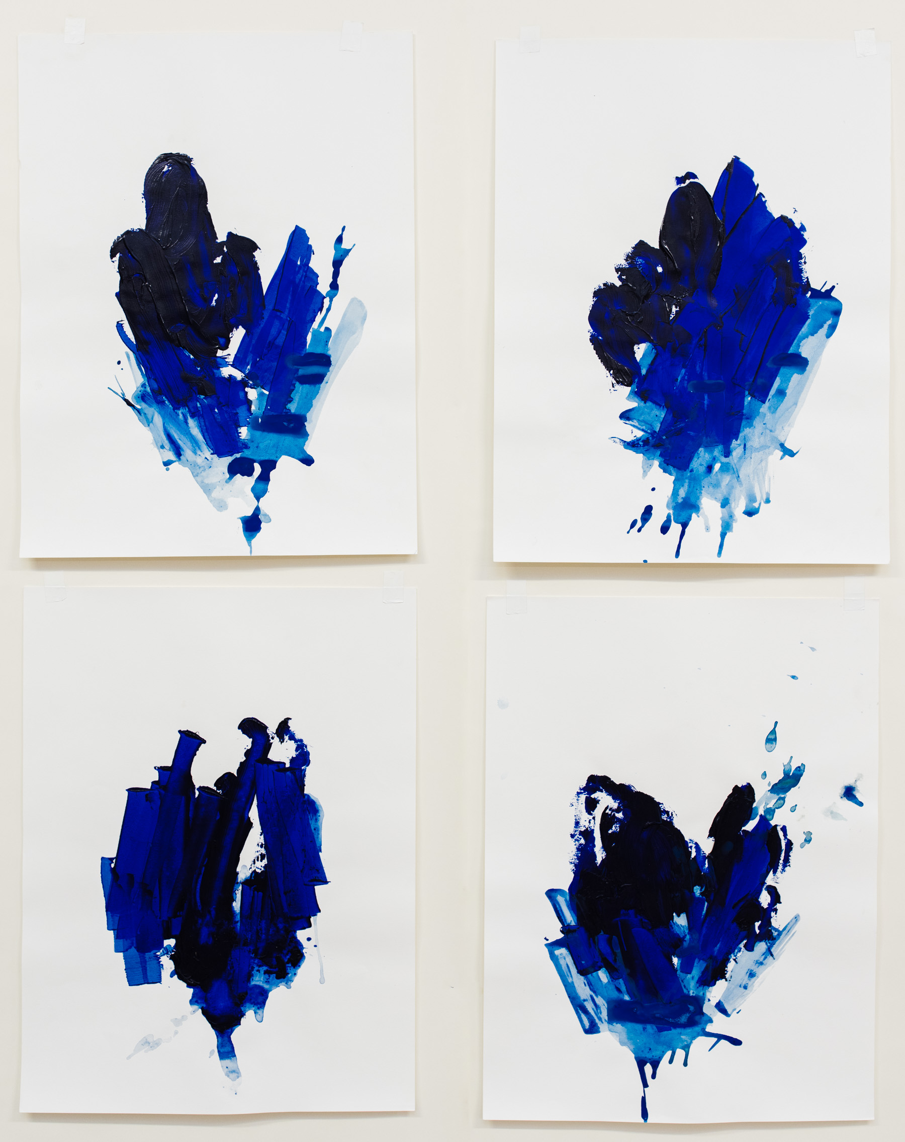 """Pushing Through #1-4,  18""""x24"""" each, acrylic on paper, 2018, available"""