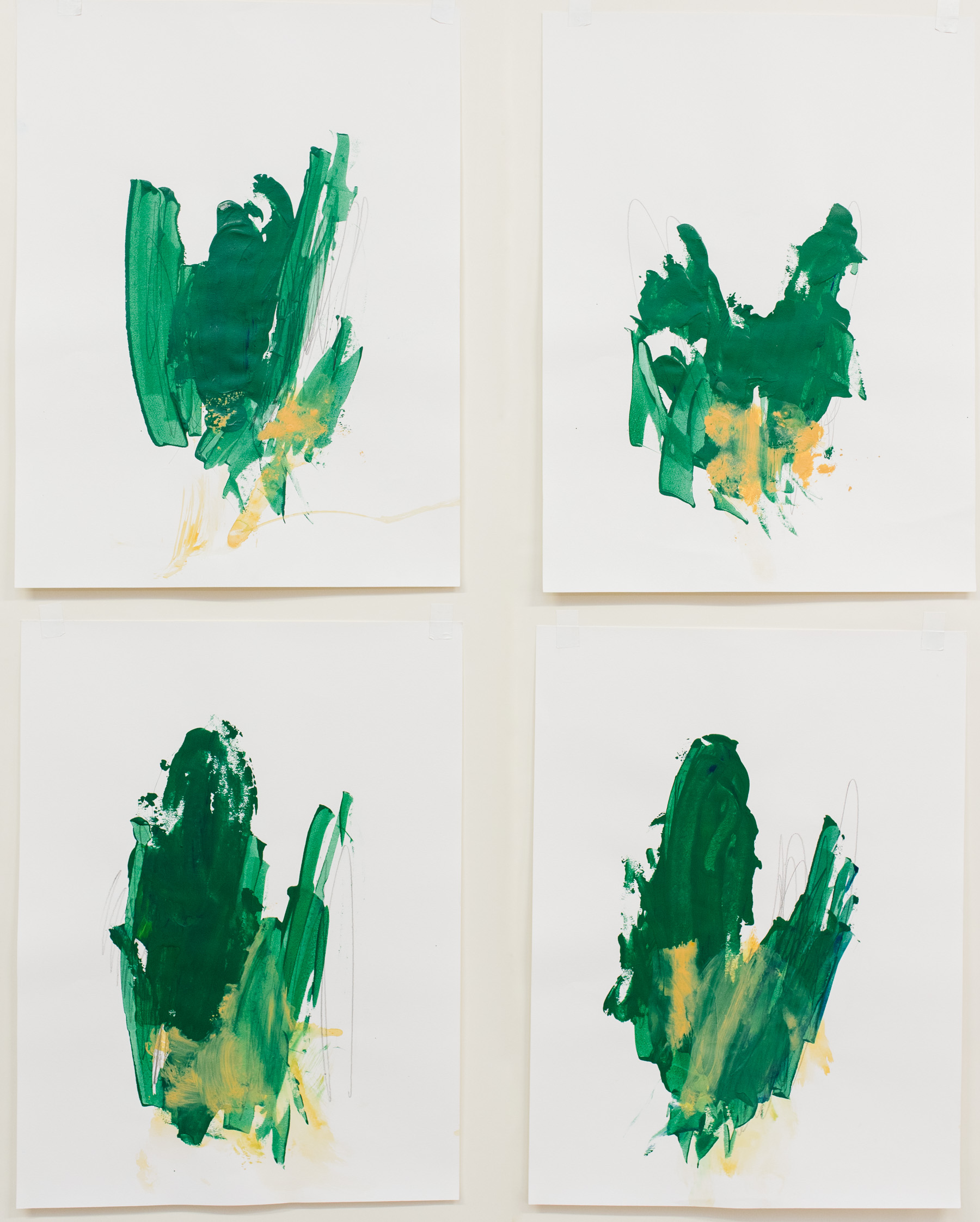 """Swings and Sways #1-4 , 18""""x24"""" each, acrylic on paper, 2018, available"""