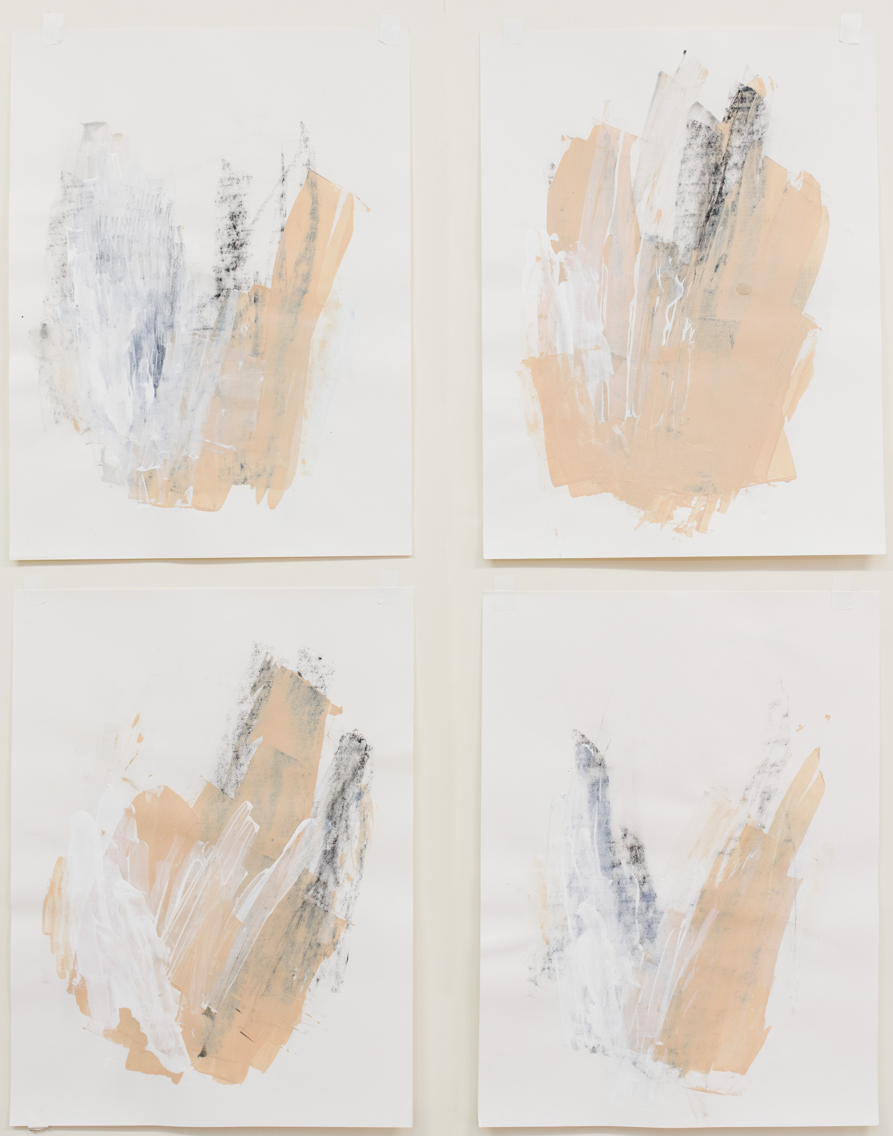 """Touch Twice #1-4 , 18""""x24"""" each, acrylic on paper, 2017, available"""