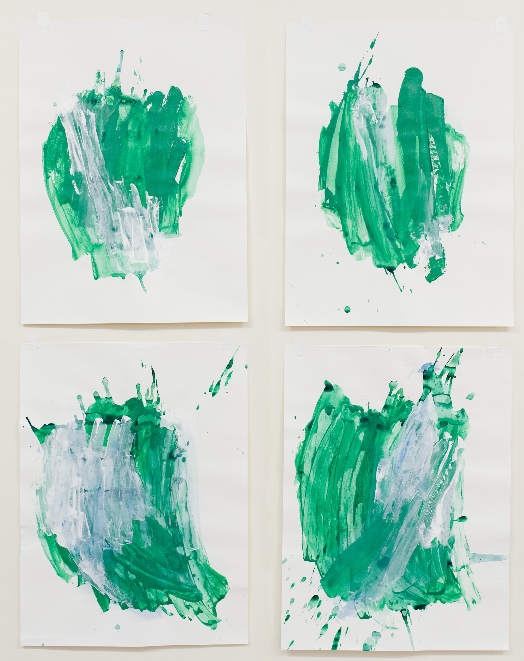 """Scatter #1-4 , 18""""x24"""" each, acrylic on paper, 2018, available"""