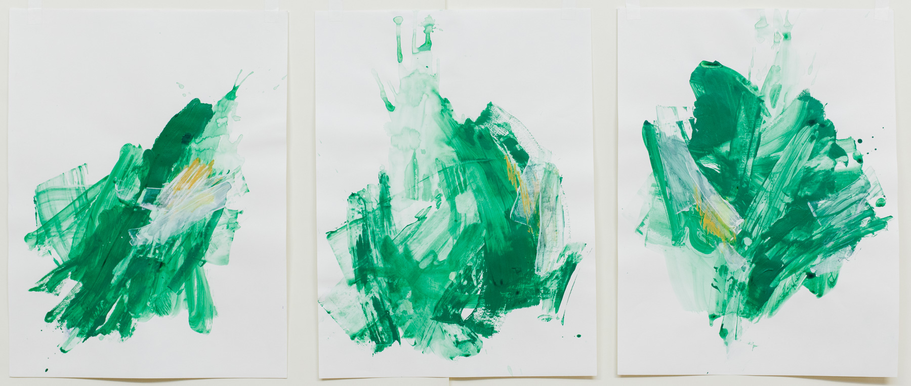 """Right Off the Edge #1-2 #4 , 18""""x24"""" each, acrylic on paper, 2018, available"""