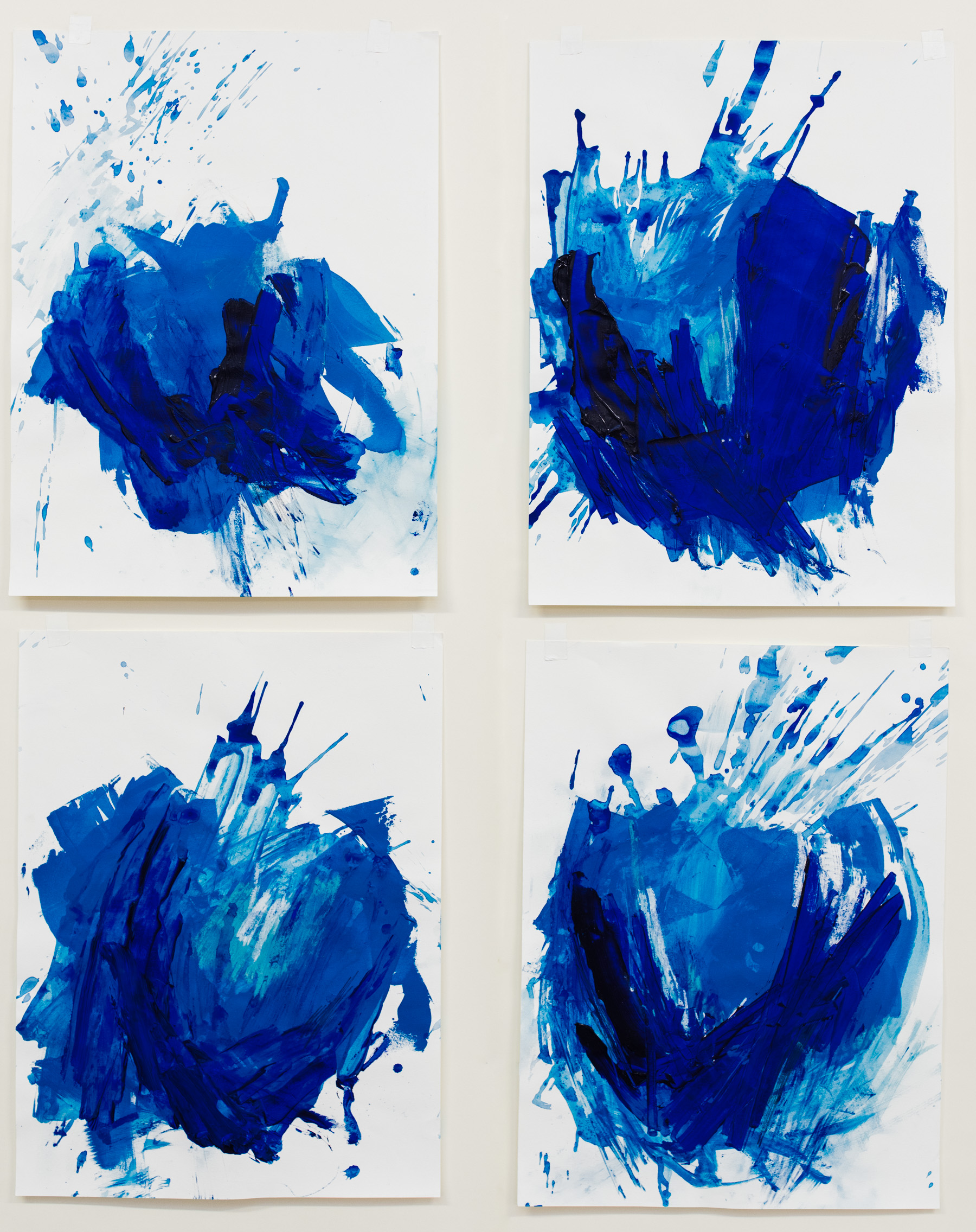 """Upheaval #1-4 , 18""""x24"""" each, acrylic on paper, 2018, available"""