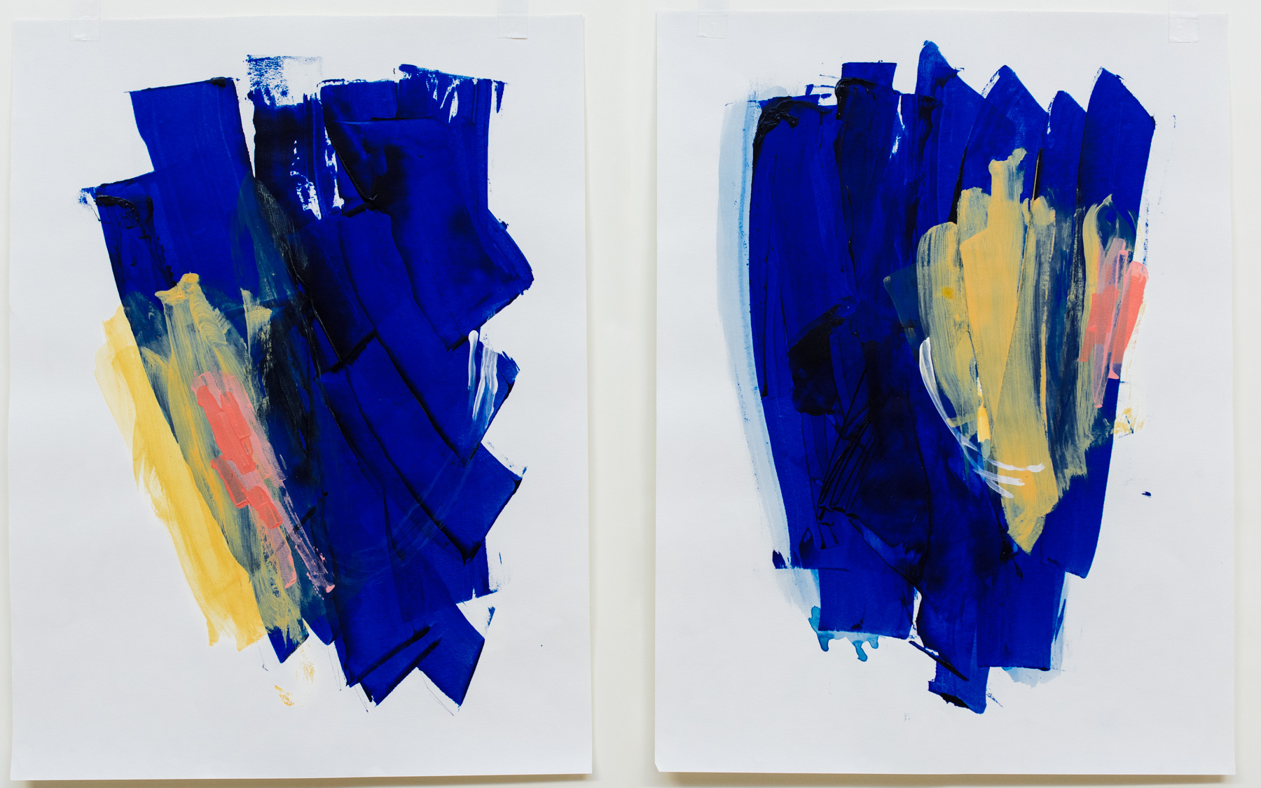 """Bow and Cherry #3-4 , 18""""x24"""" each, acrylic on paper, 2018, available"""