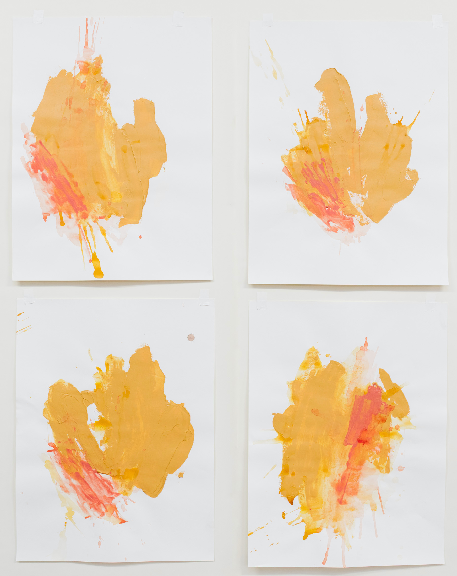 """Buttercup Test #1-4 , 18""""x24"""" each, acrylic on paper, 2018, available"""