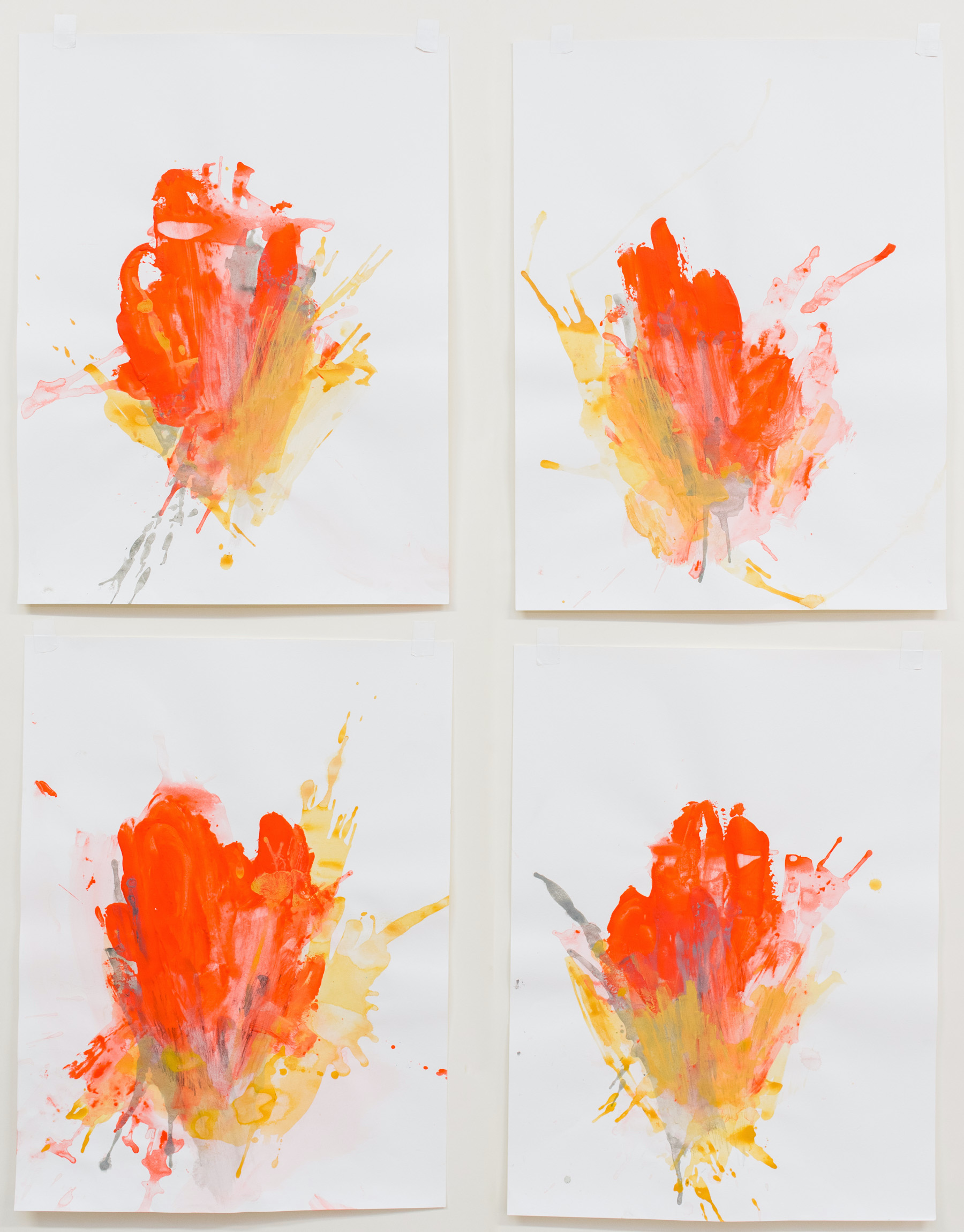 """Trigger #1-4 , 18""""x24"""" each, acrylic on paper, 2018, available"""