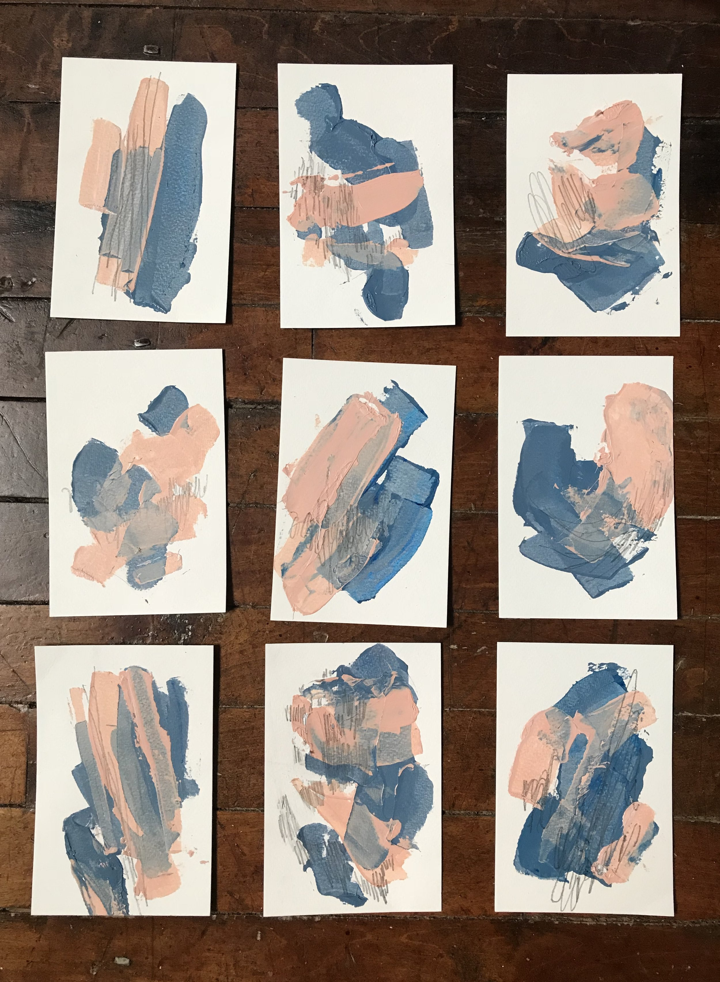 """Tart #2-4 #6, acrylic + graphite on paper, 4""""x6"""" each, 2018 / contact Katie for pricing"""
