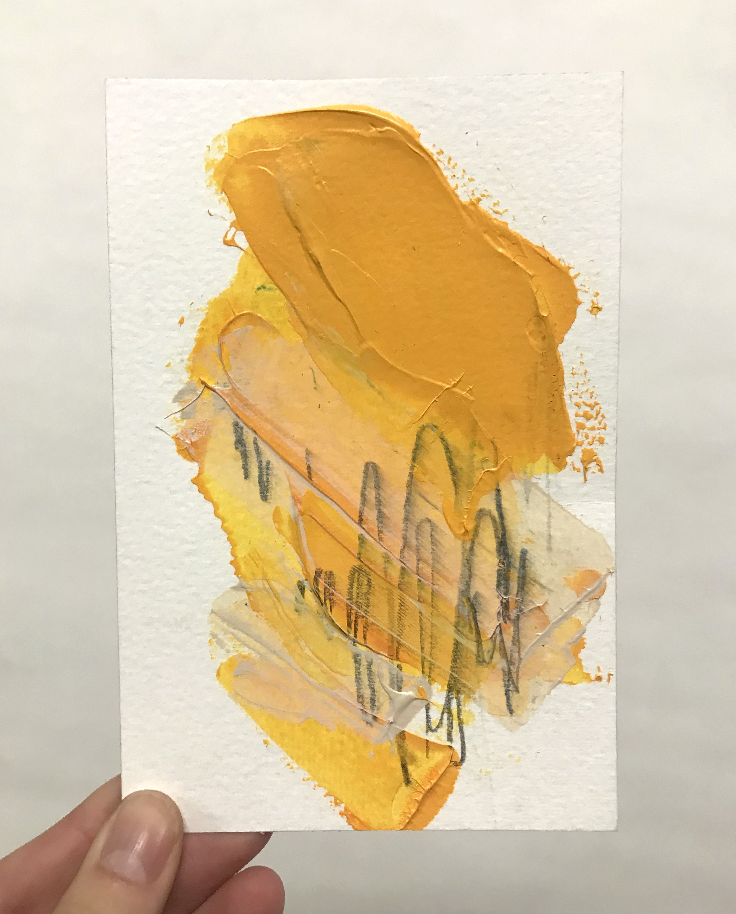 """Pinch #2, 4""""x6"""", acrylic + graphite on paper, 2018 / contact Katie for pricing"""