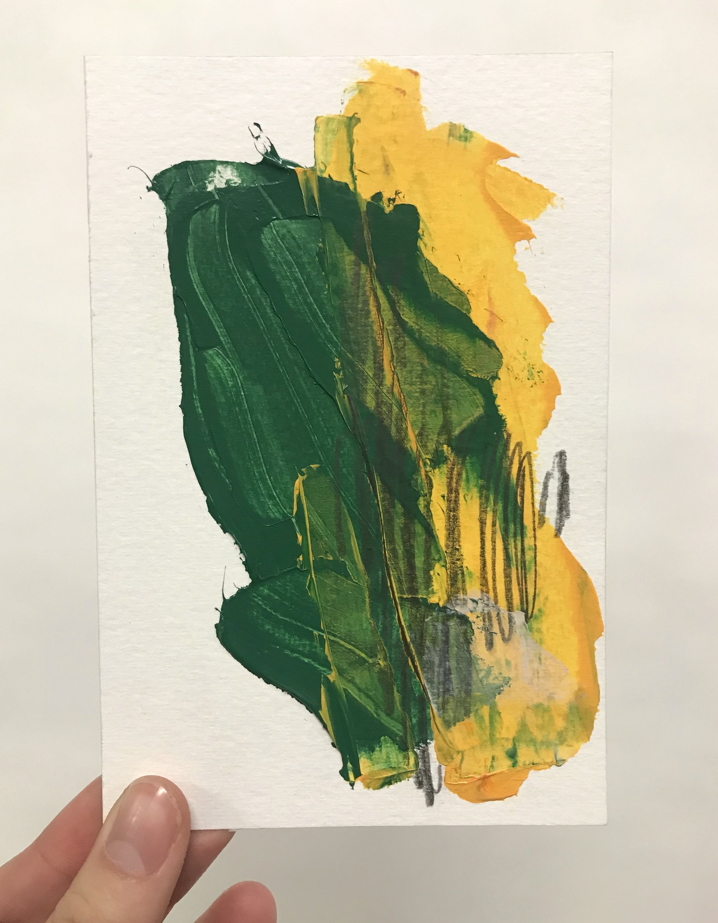 """Pinch #4, 4""""x6"""", acrylic + graphite on paper, 2018 / contact Katie for pricing"""